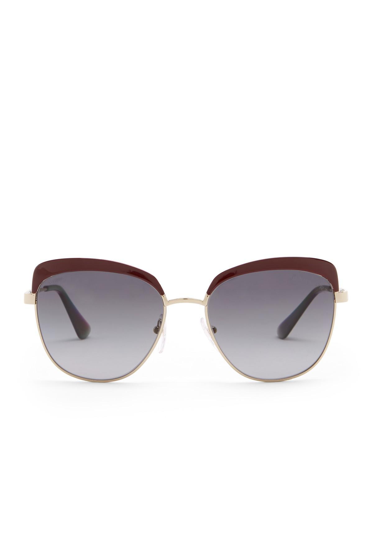 496058caefe Lyst - Prada 56mm Square Catwalk Sunglasses in Metallic