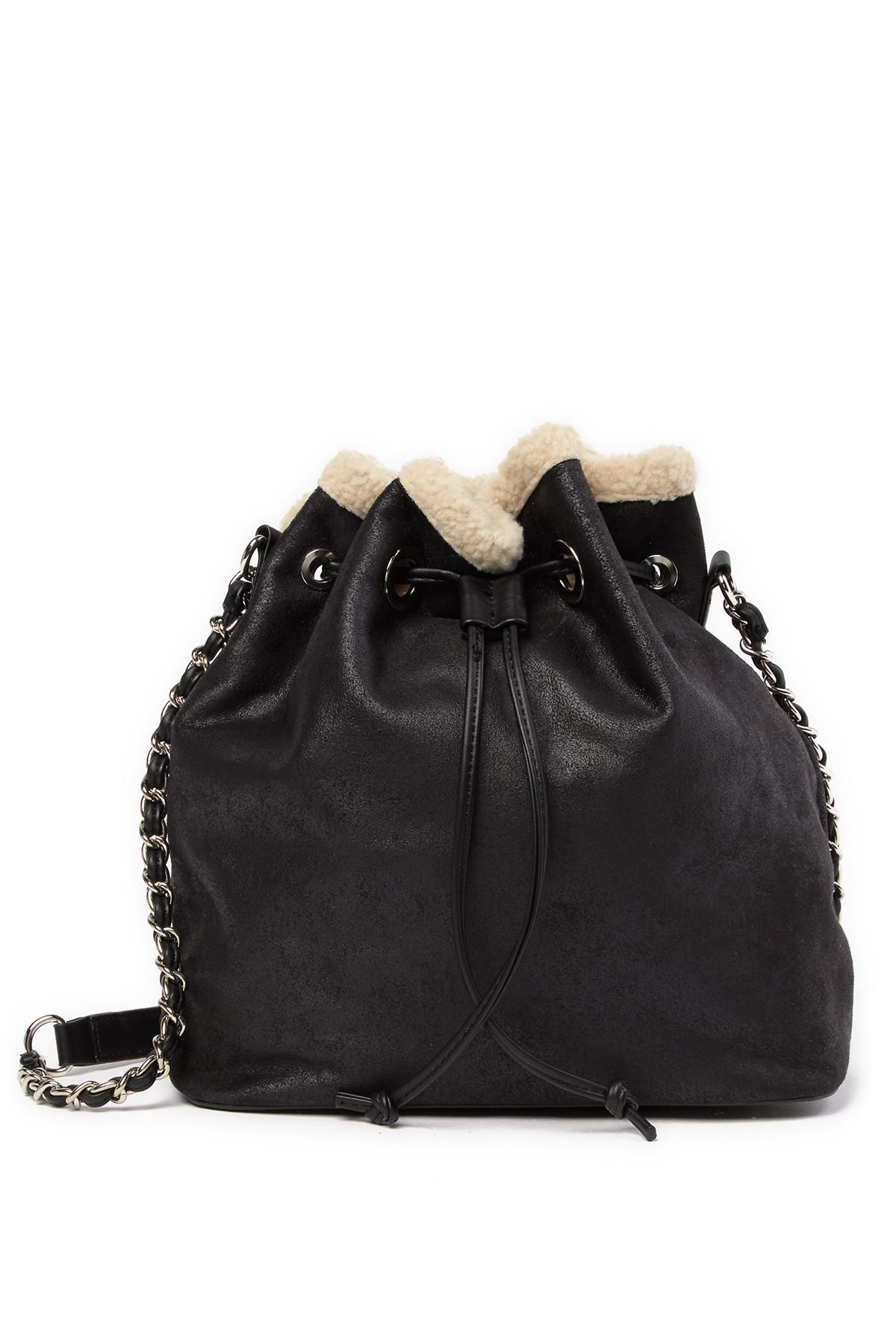96e9ebf4bc Lyst - Steve Madden Bucket Faux Fur Lined Shoulder Bag in Natural