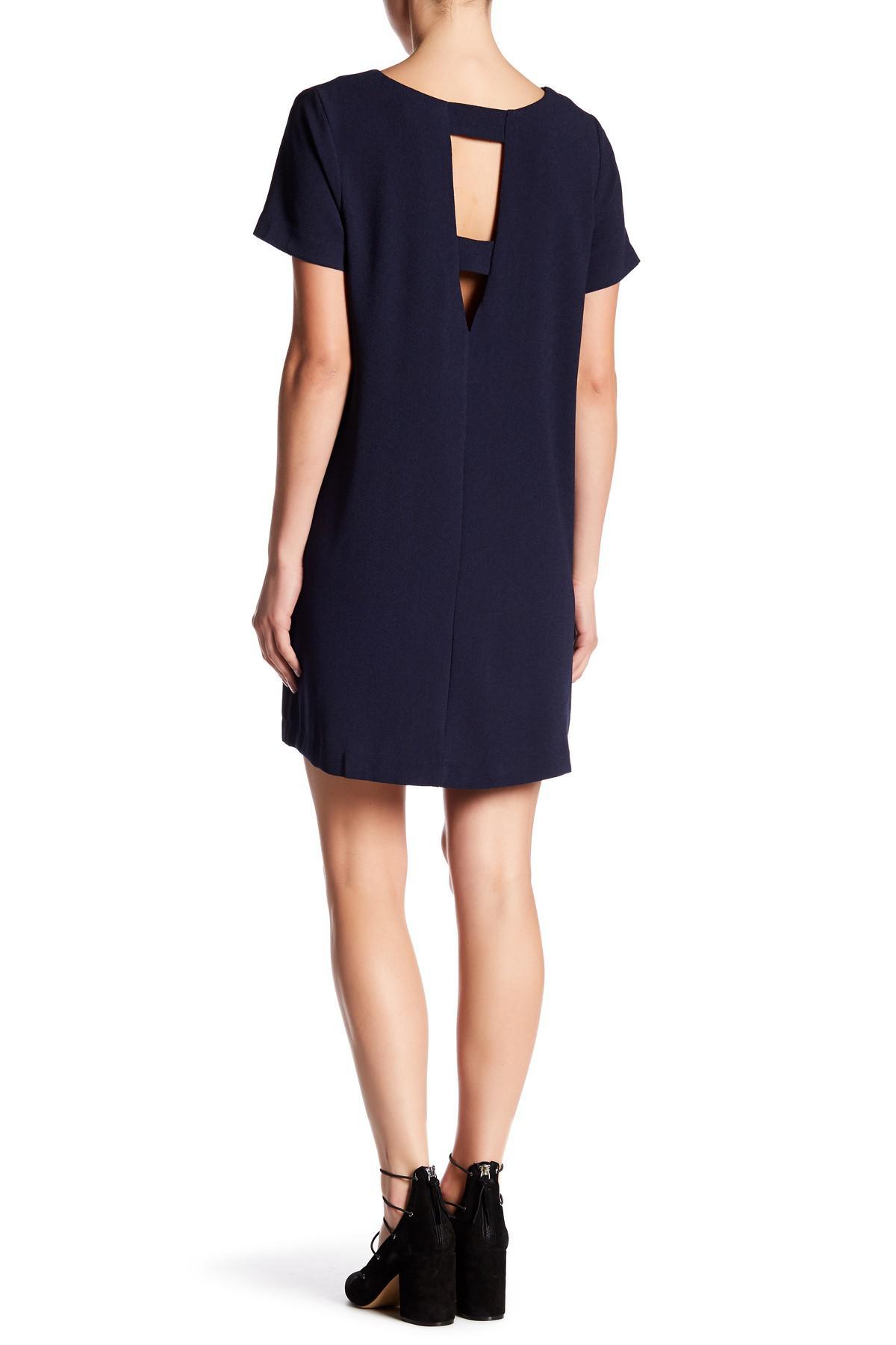 991221eec7 Bobeau Short Sleeve Crepe Shift Dress in Blue - Lyst