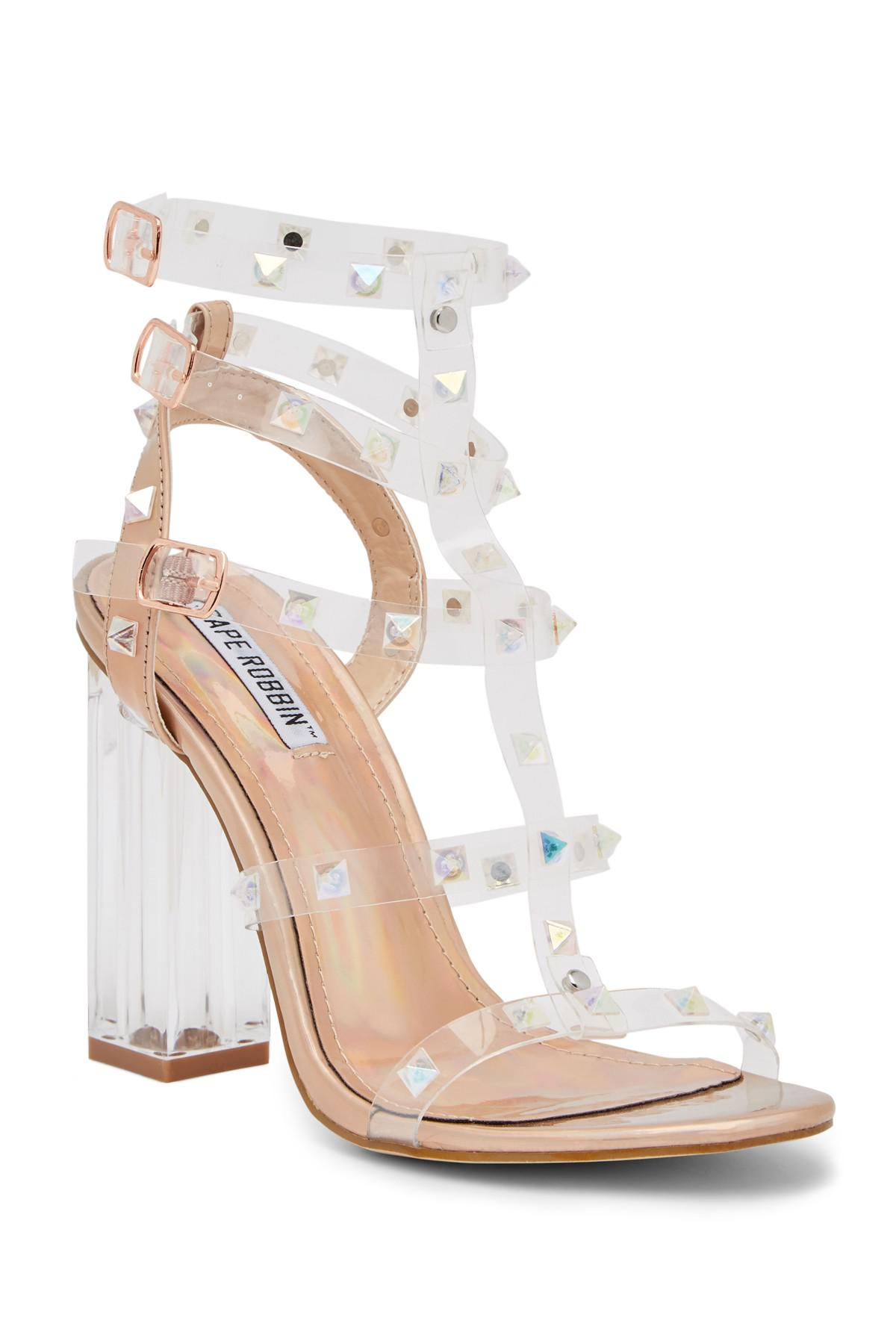5000568a9b4 Lyst - Cape Robbin Maria Transparent Studded Block Heel