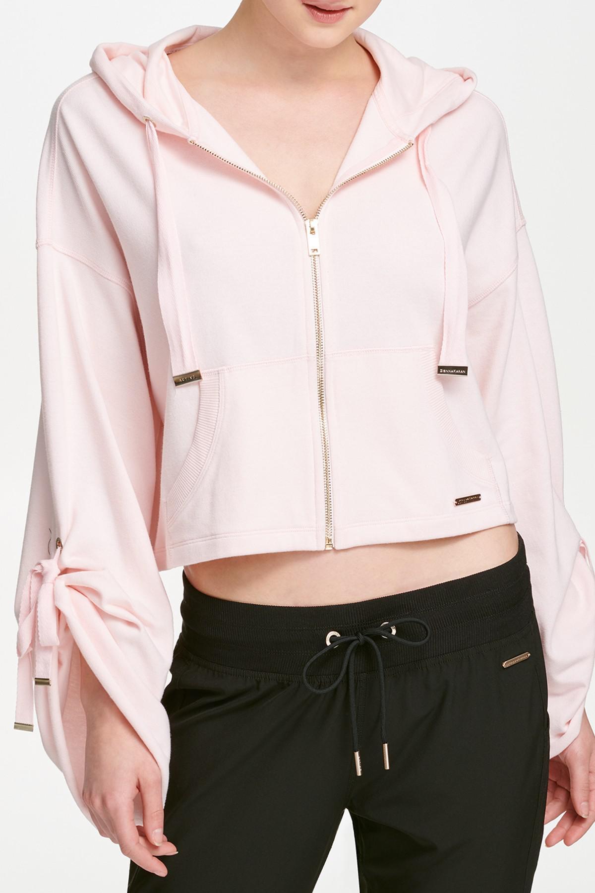 443624df5c9 Lyst - Donna Karan Lace-up Bell Sleeve Zip Hoodie in Pink