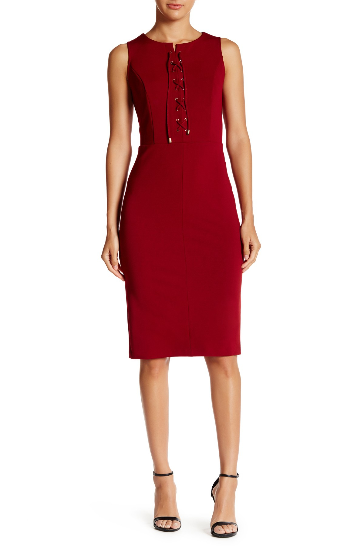 Eci lace up midi dress in red lyst for Nordstrom rack dresses pour mariage
