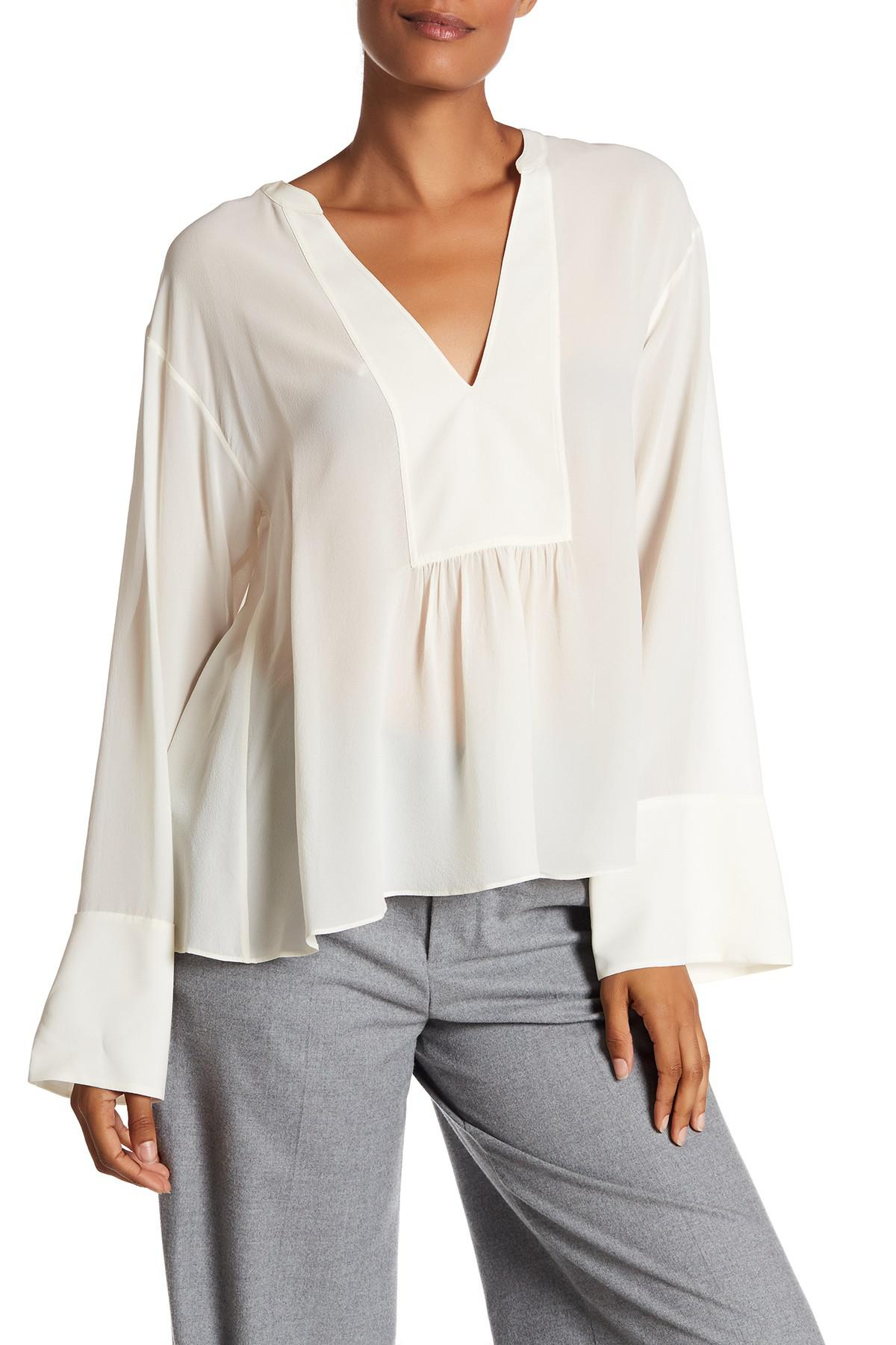 077d608620ded Lyst - Theory Matara Long Sleeve V-neck Silk Blouse in White