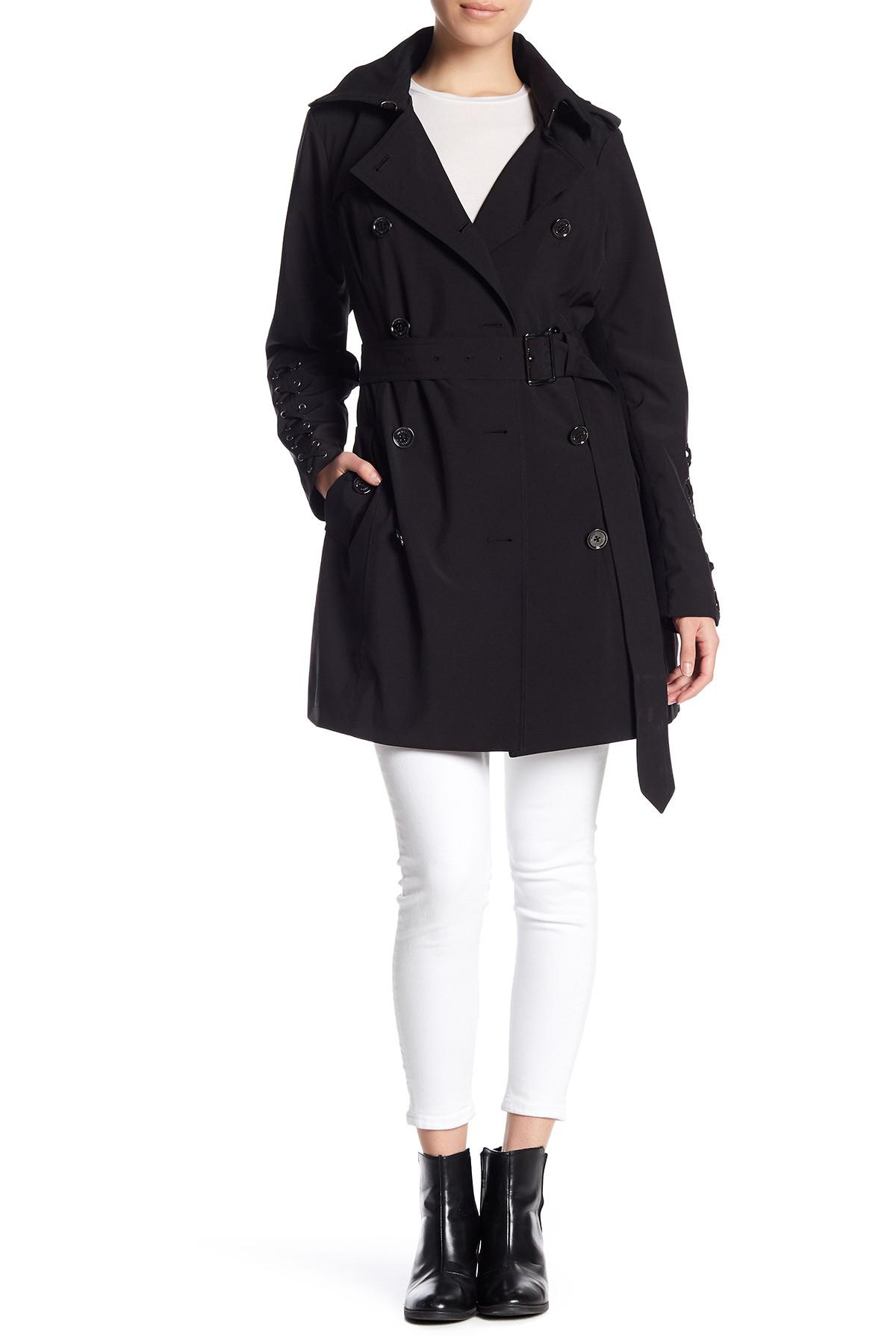 MICHAEL Michael Kors. Women's Black Lace Up Sleeve Trench Coat