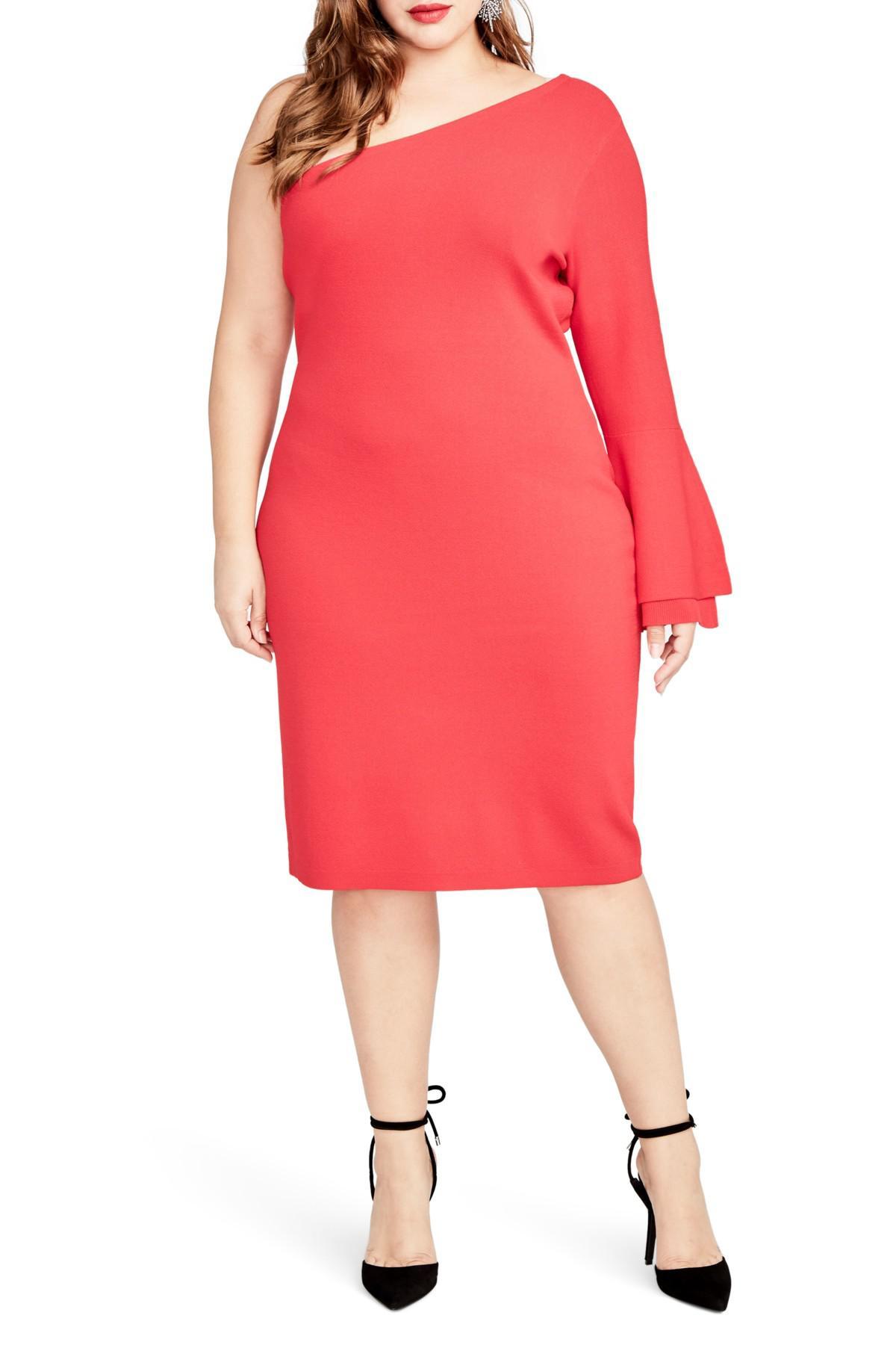 bdf1bce6533a5 RACHEL Rachel Roy. Women s Red One-shoulder Knit Sheath Dress (plus Size)