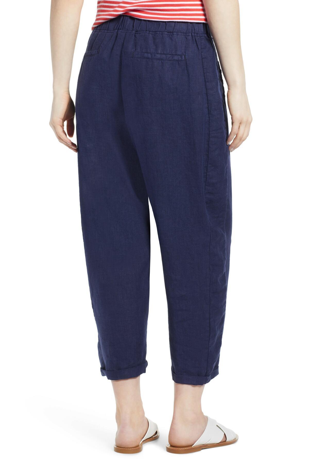 Caslon Linen Crop Pants In Blue Lyst