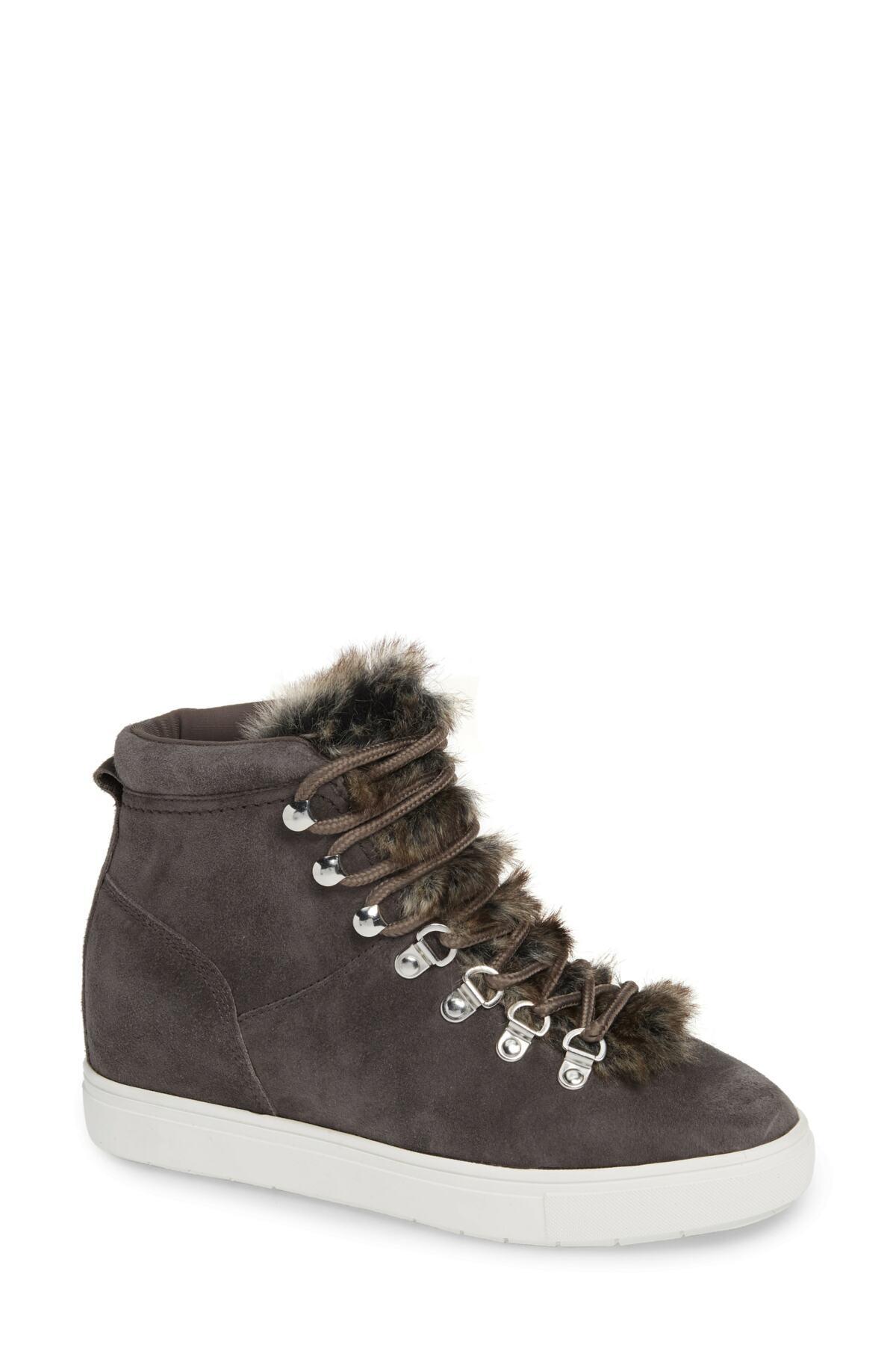 dc829c6c21d Steven by Steve Madden. Women s Gray Kalea-f Faux Fur Hidden Wedge Sneaker