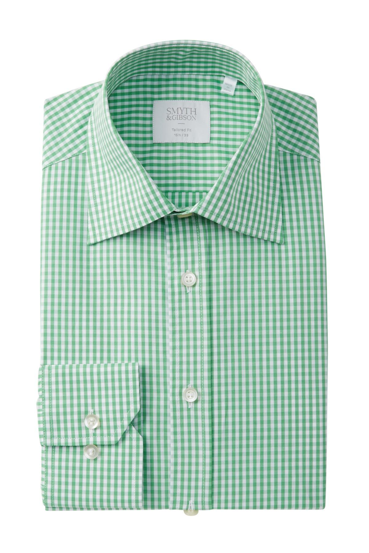 Lyst smyth gibson gingham tailored fit dress shirt in for Mens green gingham dress shirt