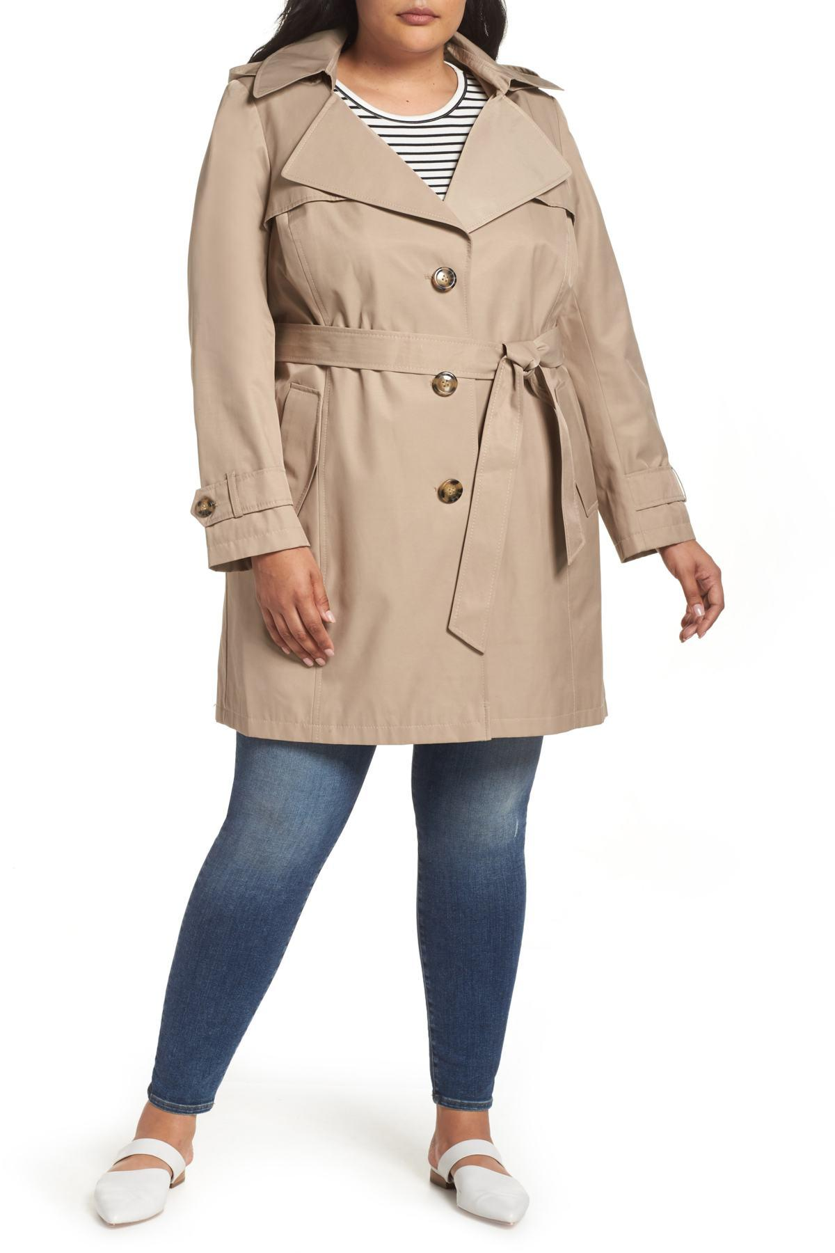 77037230bbd Halogen - Natural Hooded Trench Coat (plus Size) - Lyst. View fullscreen