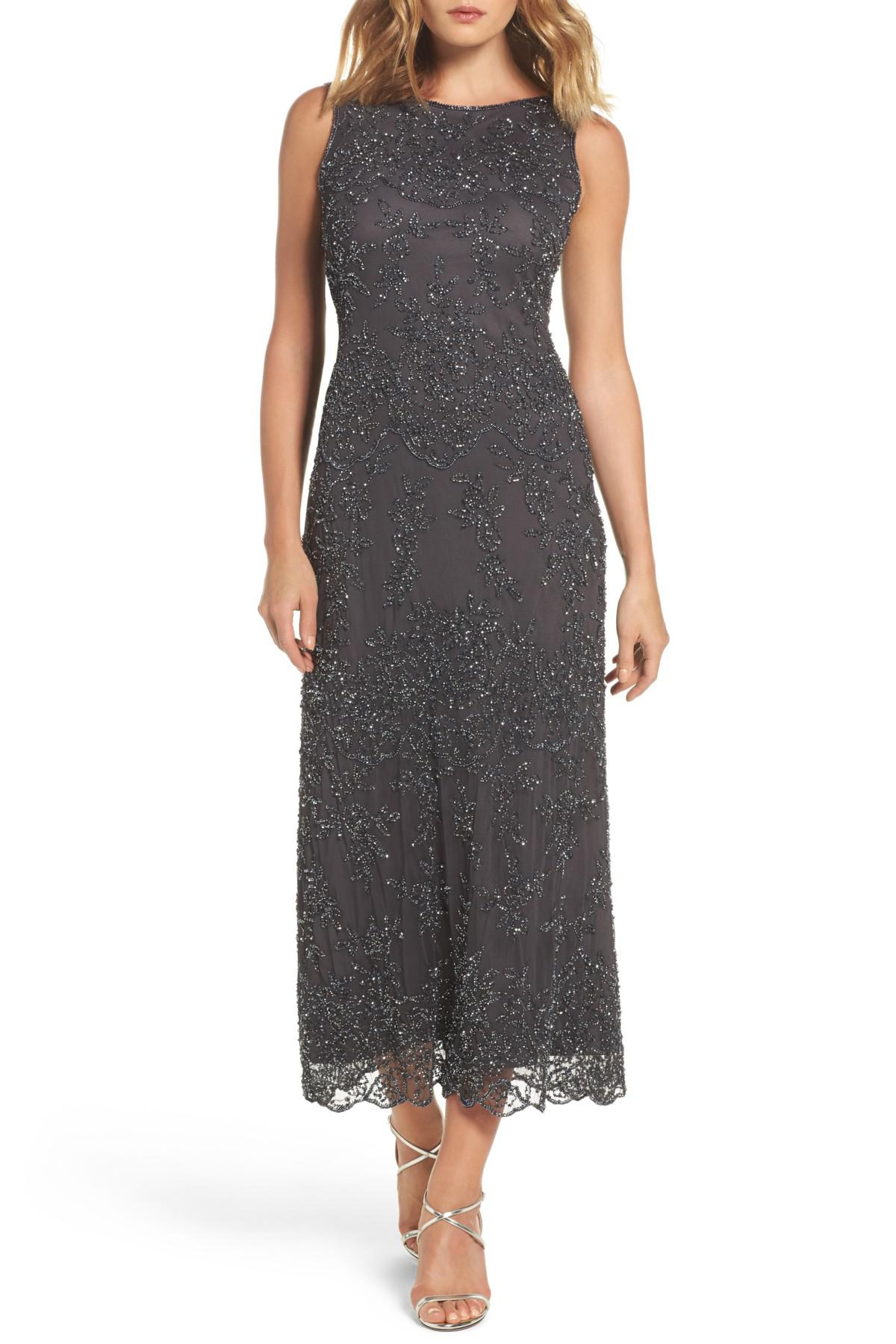 Lyst Pisarro Nights Embellished Mesh Gown In Gray