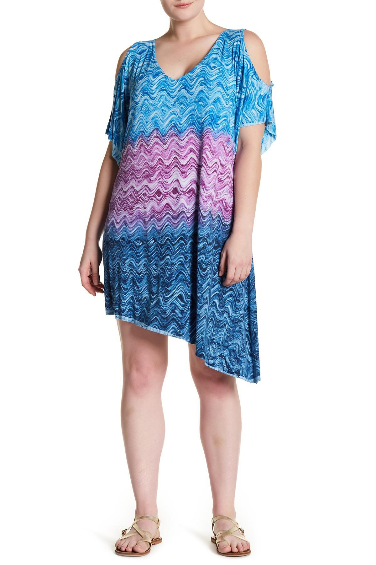 660a75bdf6e7 Lyst - Becca Cosmic Print Cold Shoulder Dress (plus Size) in Blue