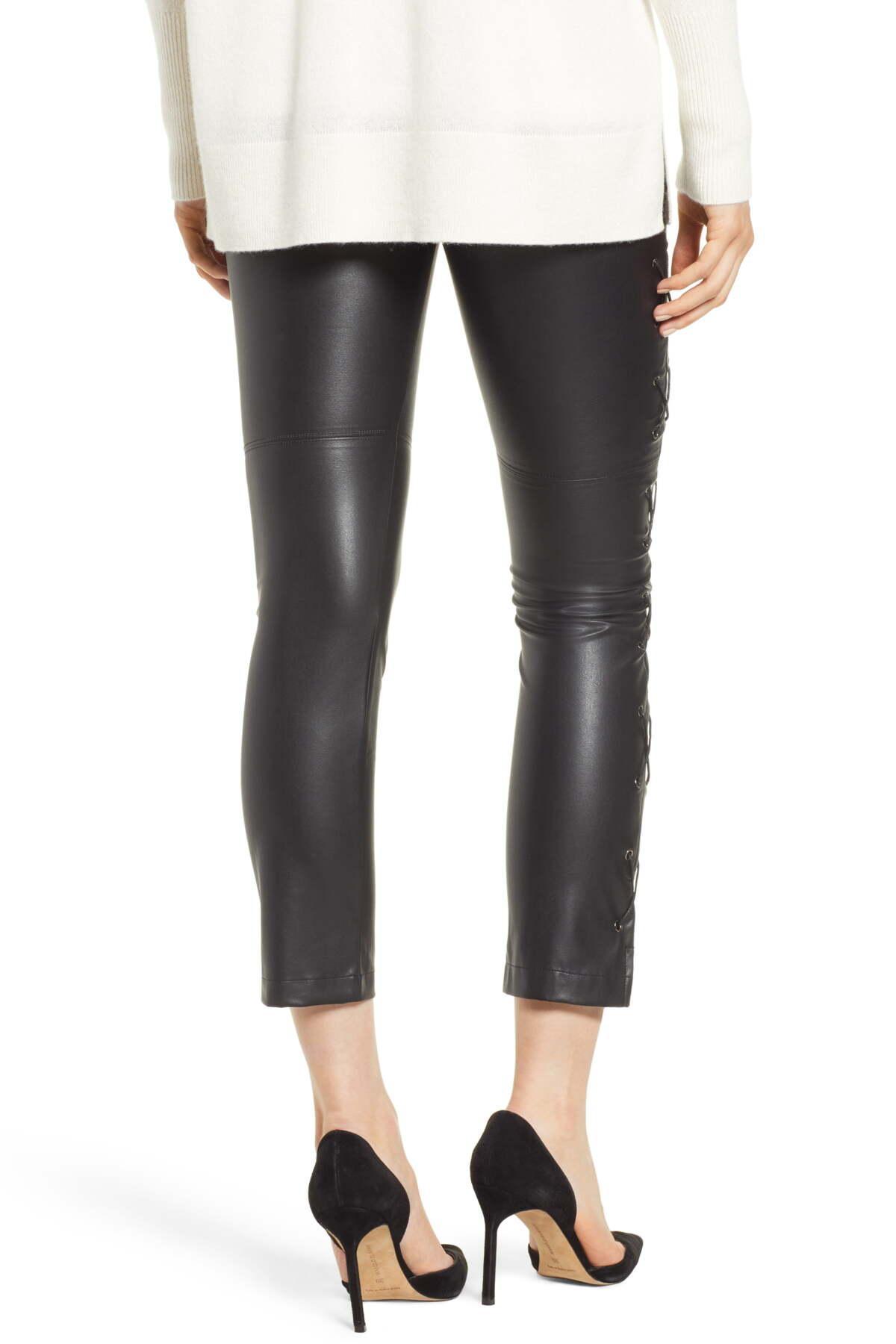 ae37fbecc1b6e David Lerner - Black Gemma Lace-up Side Faux Leather Leggings - Lyst. View  fullscreen