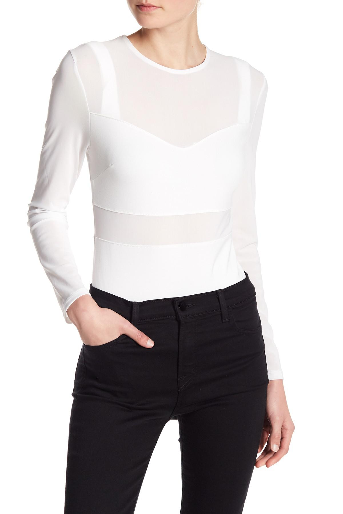 e01bc30520a Lyst - Kendall + Kylie Bralette Mesh Bodysuit in White