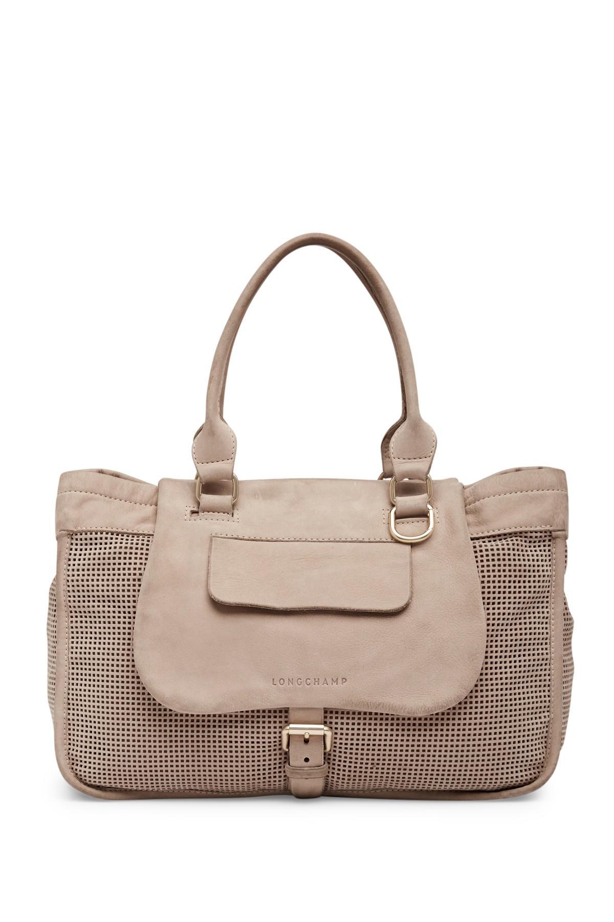 da95fb7c912 Lyst - Longchamp Balzane Perforated Leather Shoulder Bag in Natural