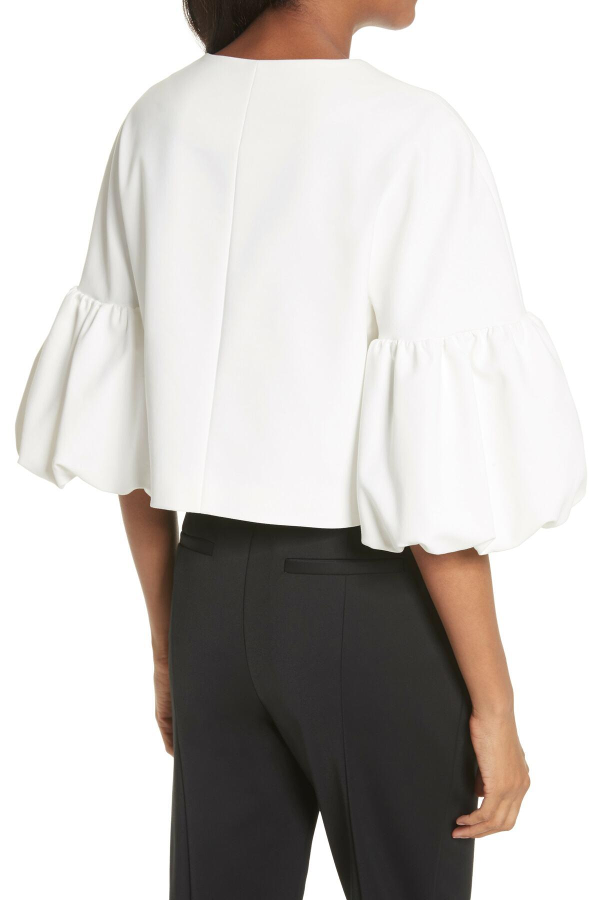 In Balloon White Top Tibi Lyst Sleeve vPnw8Nym0O