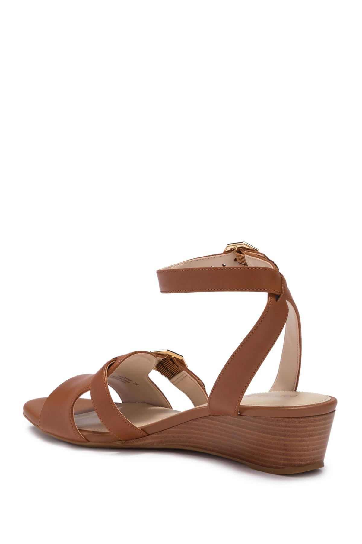 c18546d5f0f Lyst - Cole Haan Terrin Ankle Strap Wedge Sandal in Brown
