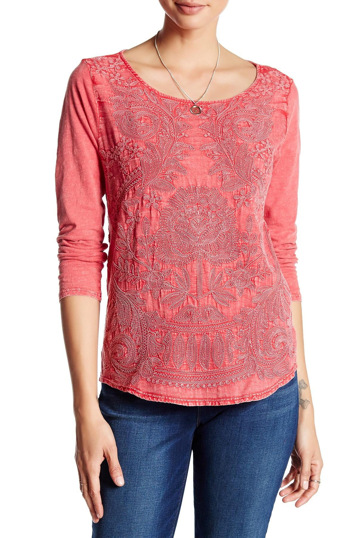 Lyst Lucky Brand Embroidered Ballet Neck Tee In Pink