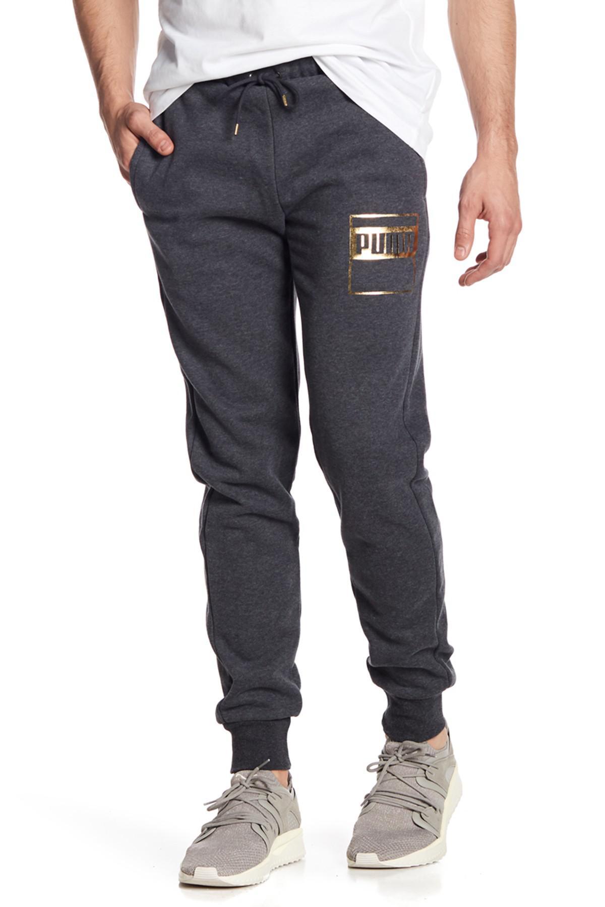 5ba5e3fc3700 ... Lyst - Puma Rebel Gold Logo Pants in Gray for Men ...