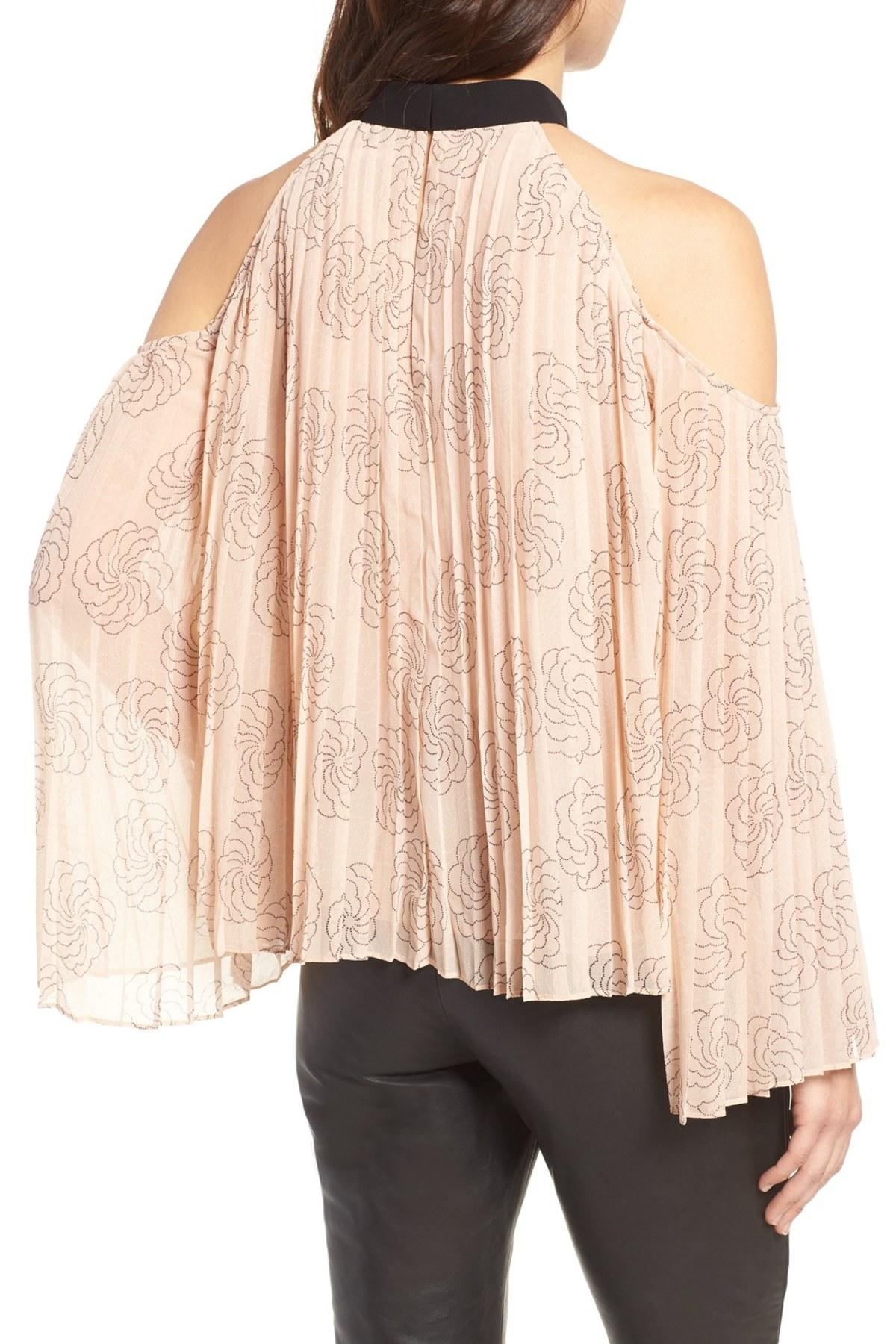 75c79559a60e26 Lyst - Chelsea28 Pleat Cold Shoulder Top in Pink