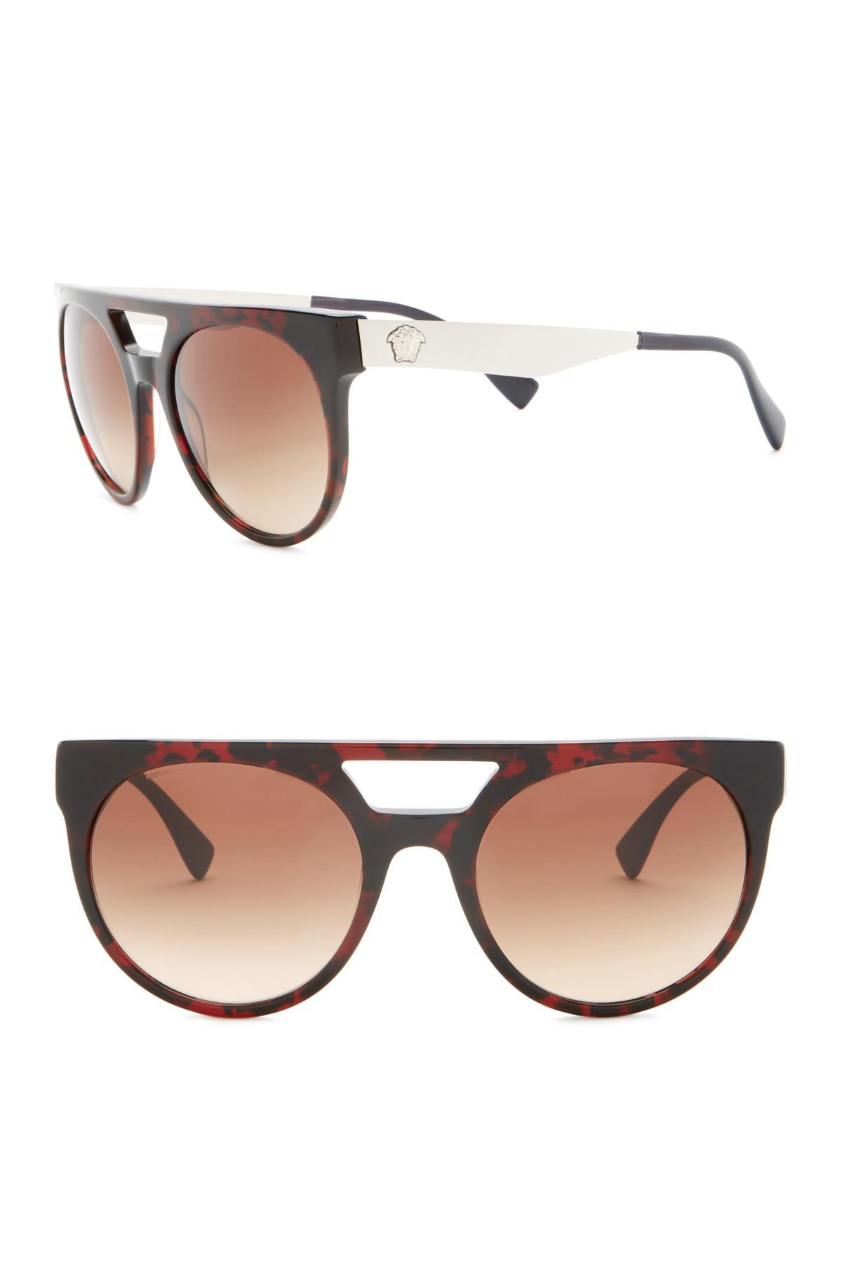 751e4eaa8cad2 Lyst - Versace 55mm Round Sunglasses in Brown