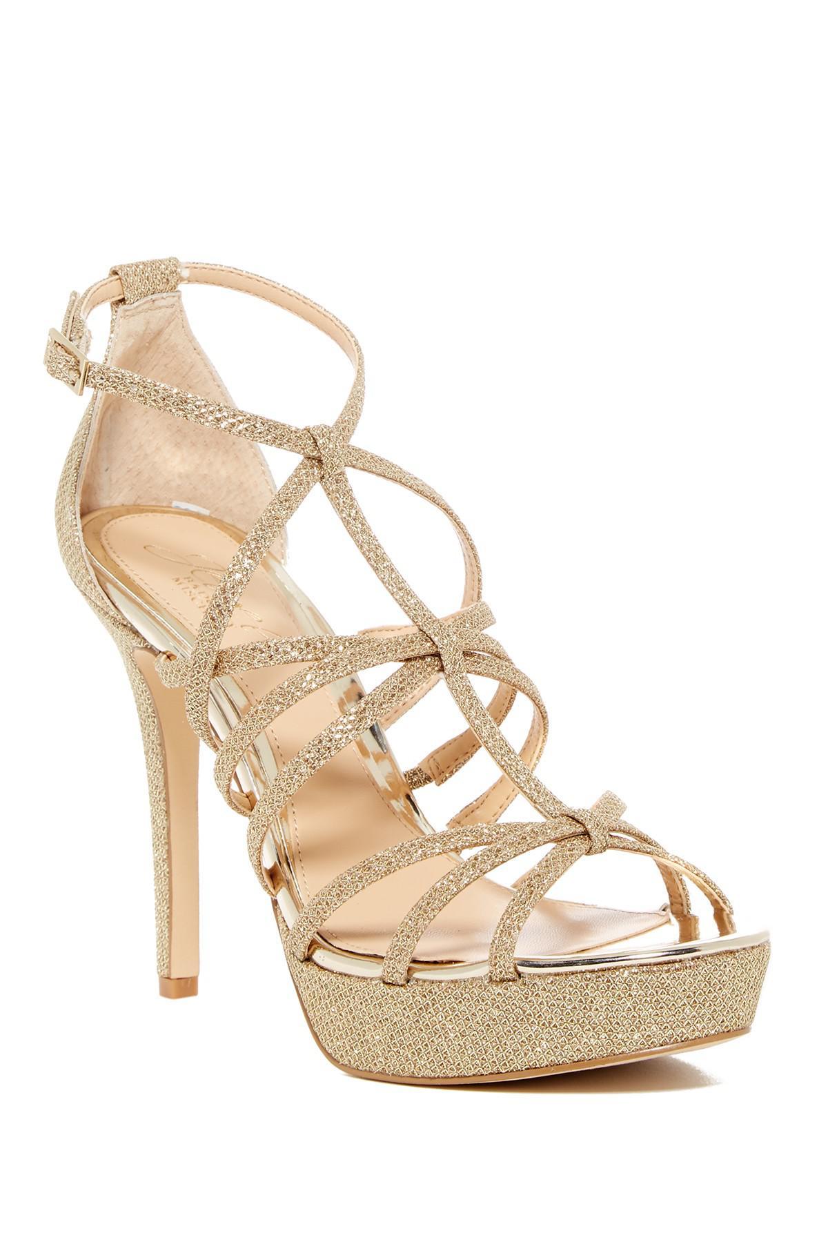 Badgley Mischka Taura Glitter Mesh Platform Sandal T0iaSy9