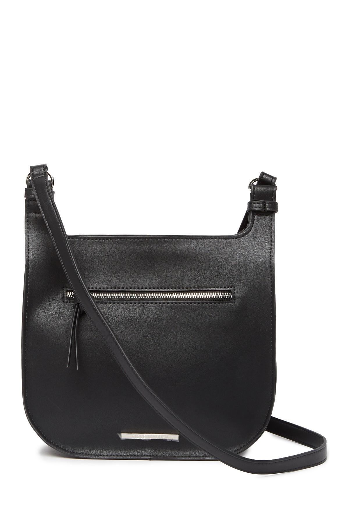 a1c9806a99 Steve Madden - Black Saddle Faux Leather Crossbody Bag - Lyst. View  fullscreen