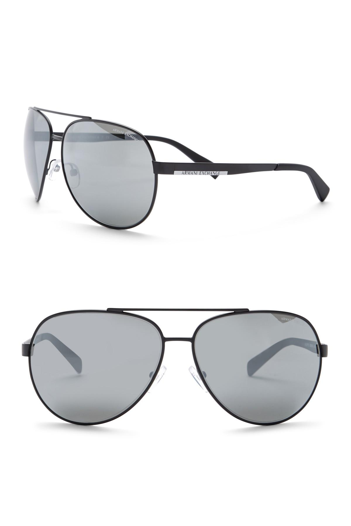 2d19ab0949d Armani Exchange - Multicolor Aviator 64mm Metal Frame Sunglasses for Men -  Lyst. View fullscreen