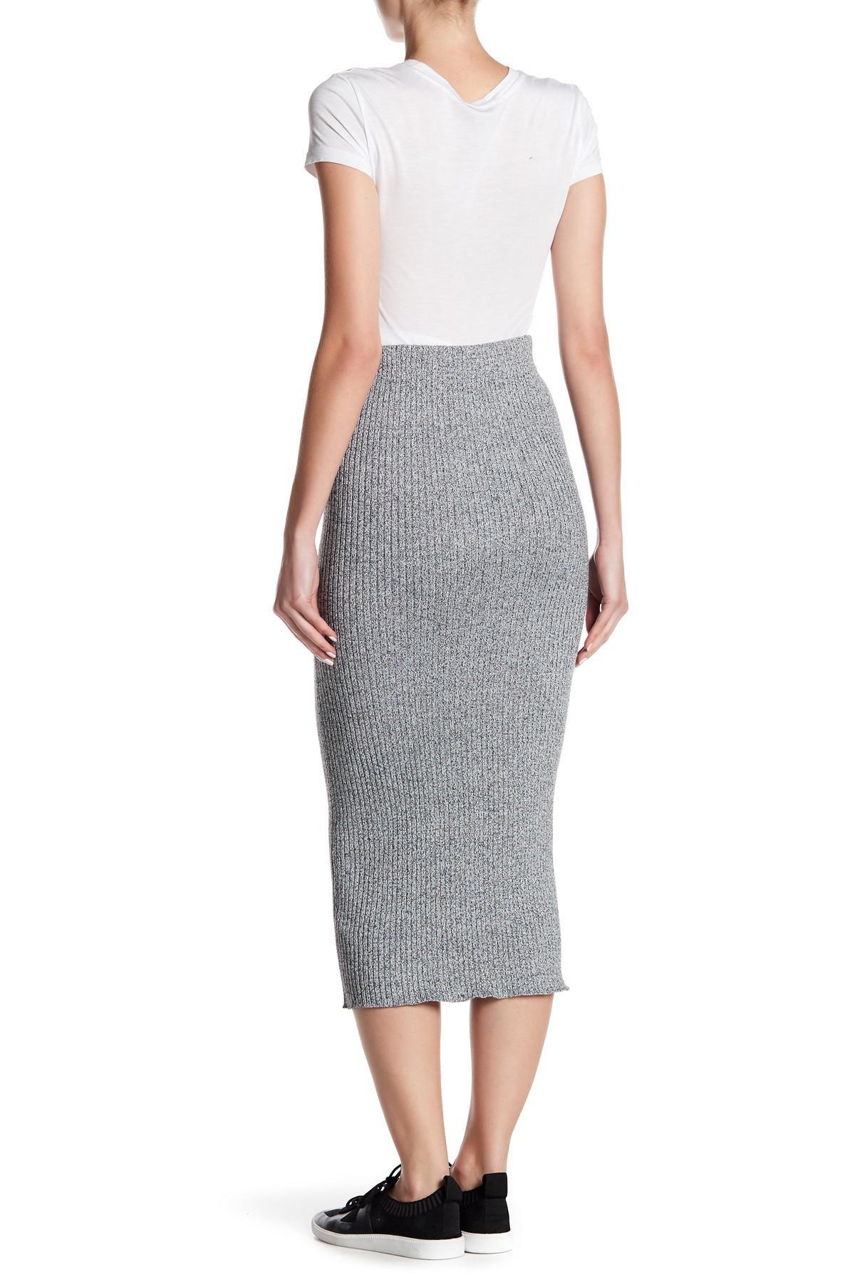 f63338d4a Dex Long Knit Pencil Sweater Skirt in Gray - Lyst
