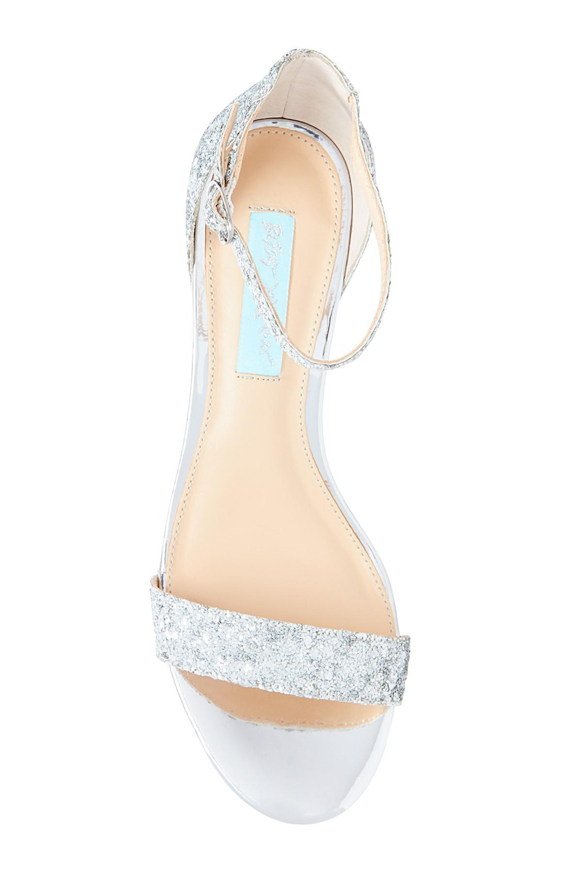 aa36a1eecd6 Lyst - Betsey Johnson Jayce Glitter Block Heel Sandal in Metallic