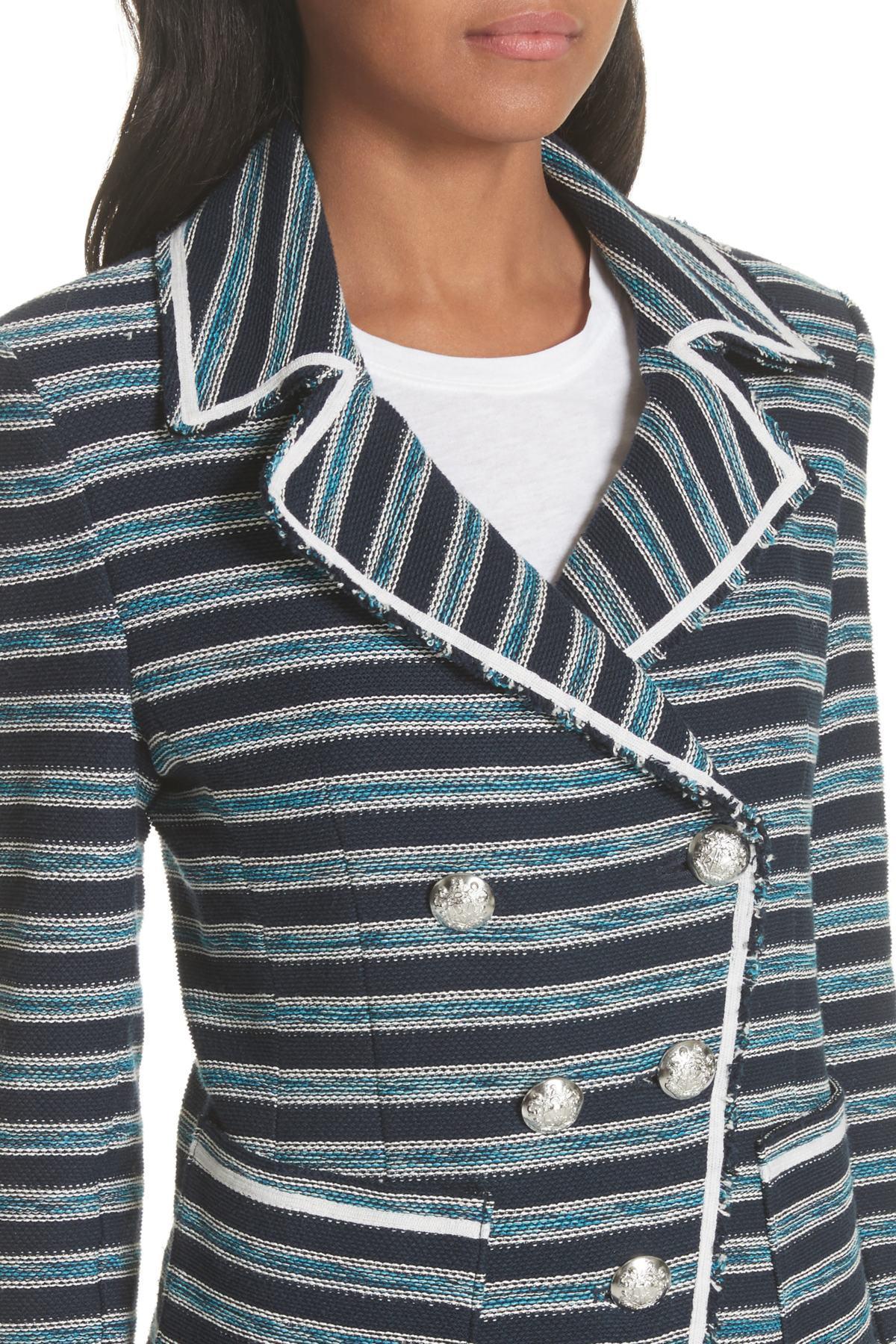 dbf51b468 Lyst - Veronica Beard Carroll Stripe Jacket in Blue