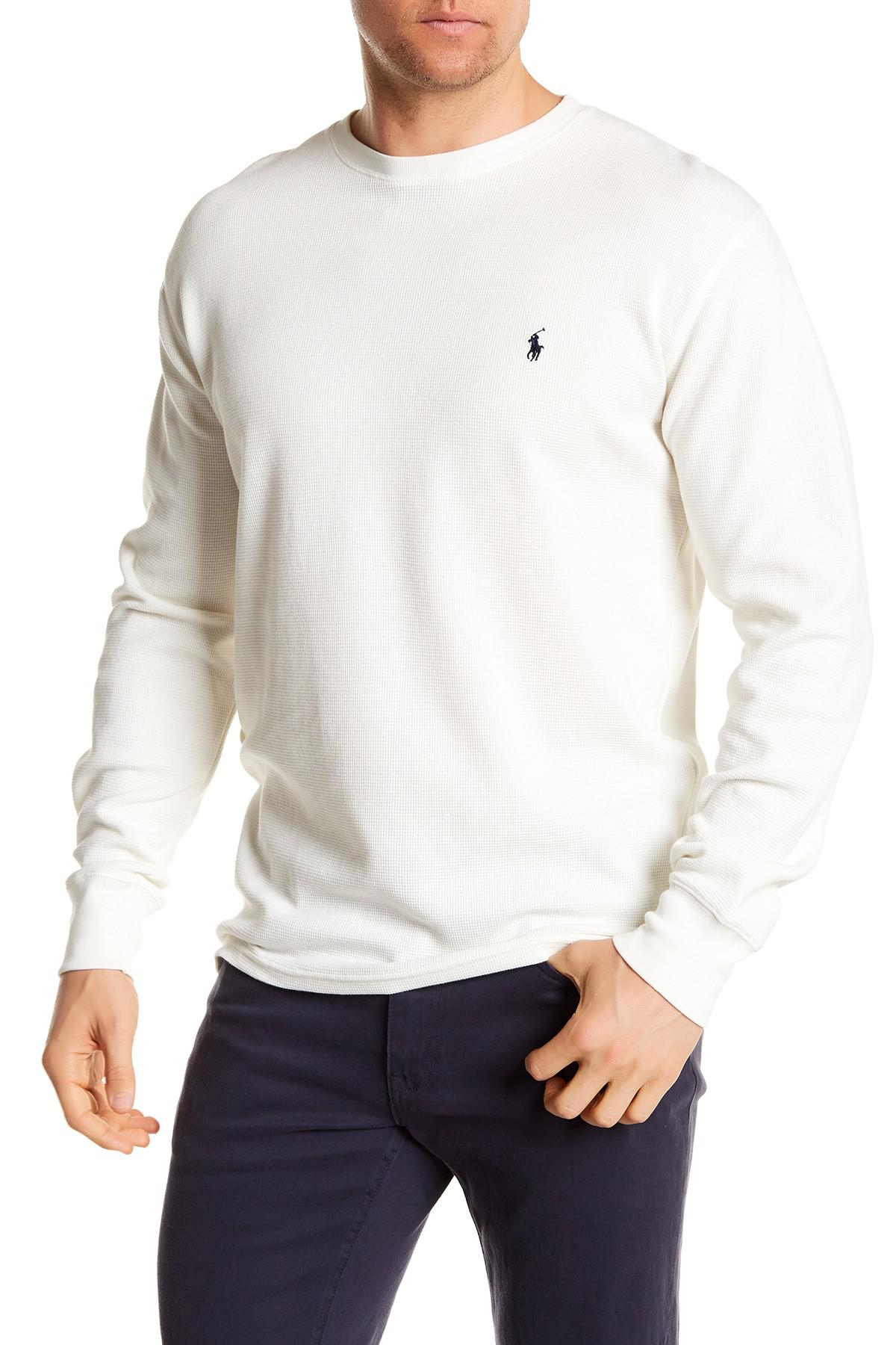 db798457 Polo Ralph Lauren Waffle Knit Long Sleeve Crew Neck Tee in White for ...