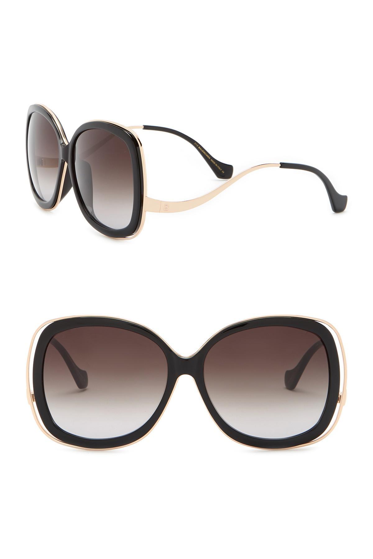 35856fa2ab Balenciaga 61mm Oversized Sunglasses in Brown - Lyst