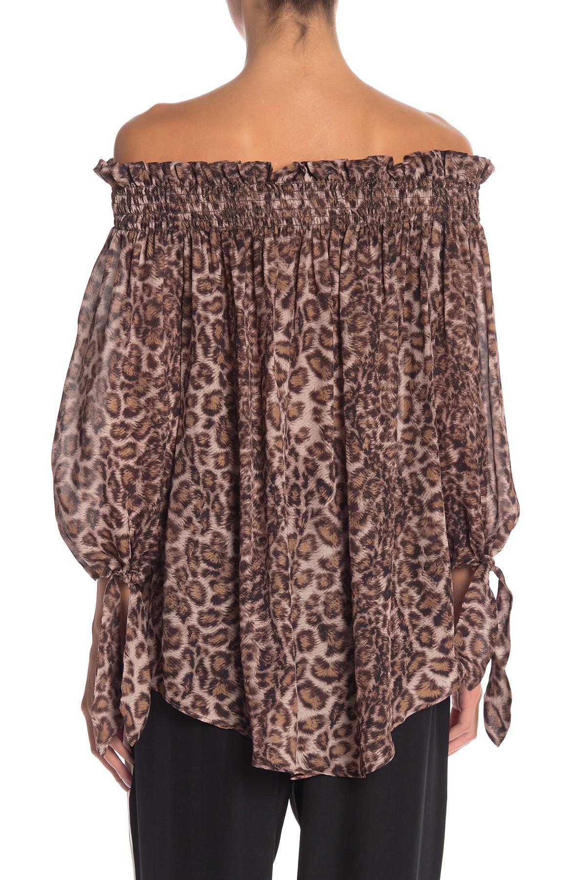 af013d9680e4f2 Lyst - Acrobat Leopard Print Off-the-shoulder Silk Blouse in Brown