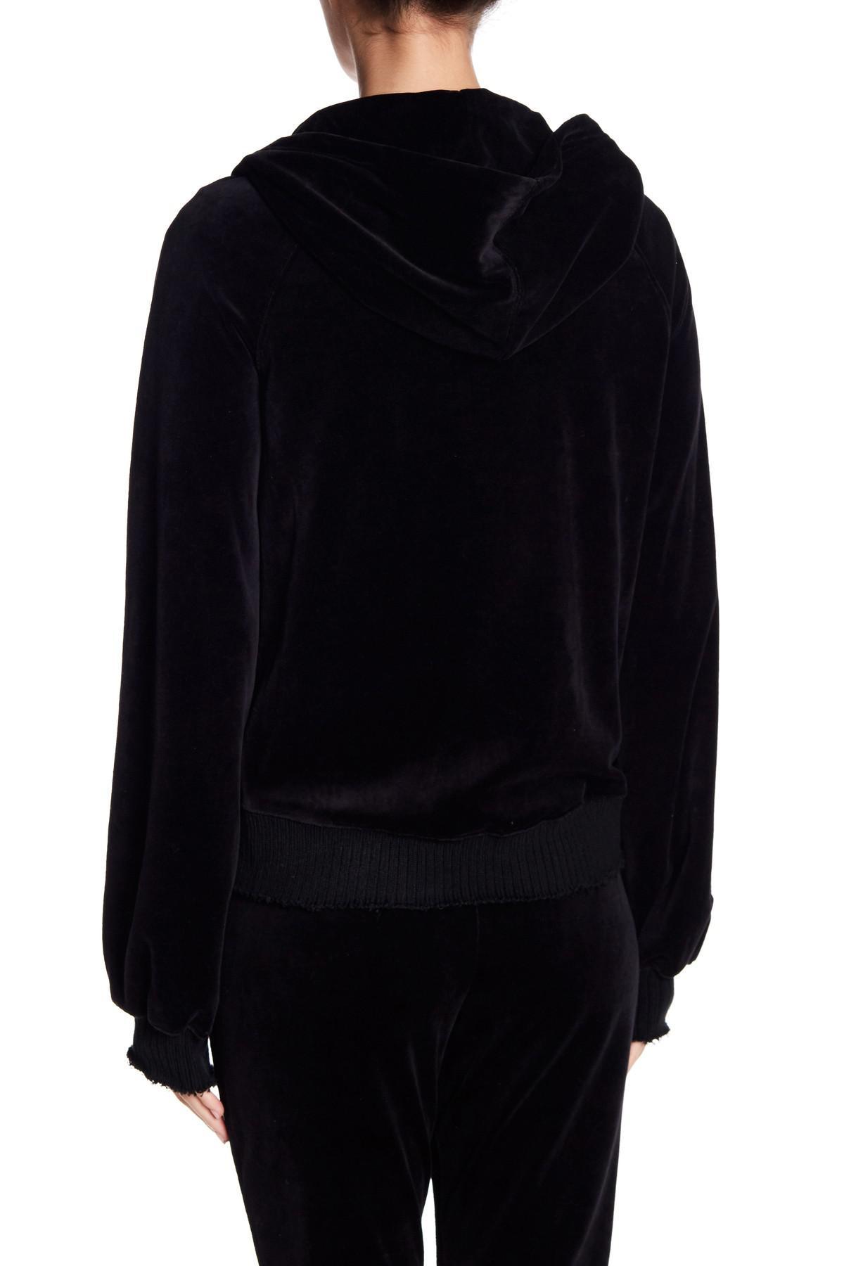 Lyst Pam Amp Gela Velour Zip Up Hoodie In Black