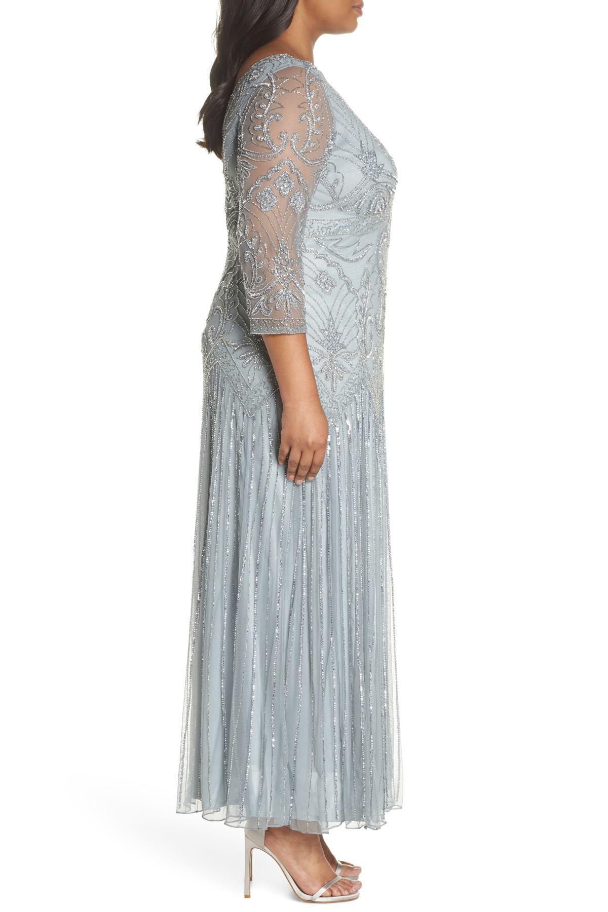 be04bb0121c Lyst - Pisarro Nights Embellished Double V-neck Long Dress (plus ...