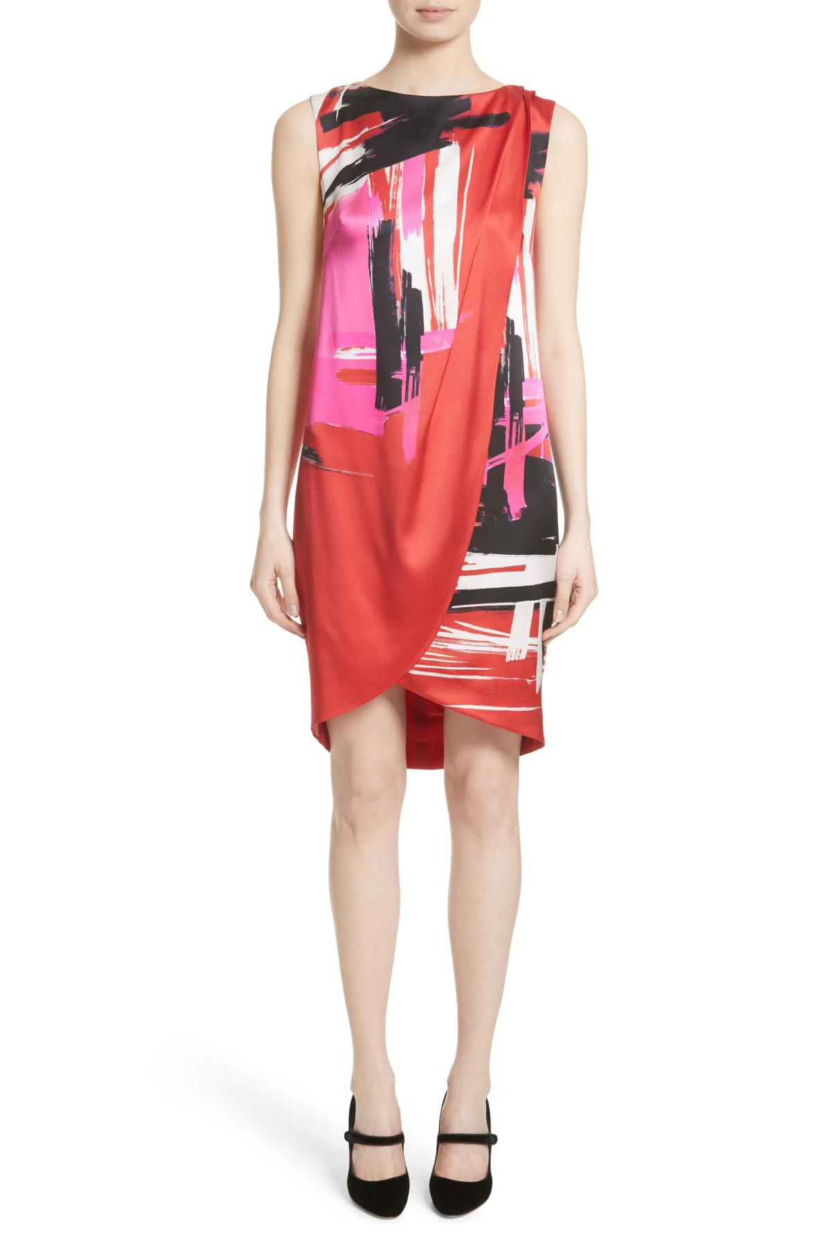 3fb8ddb00d24f St. John Brushstroke Print Stretch Silk Dress in Red - Lyst