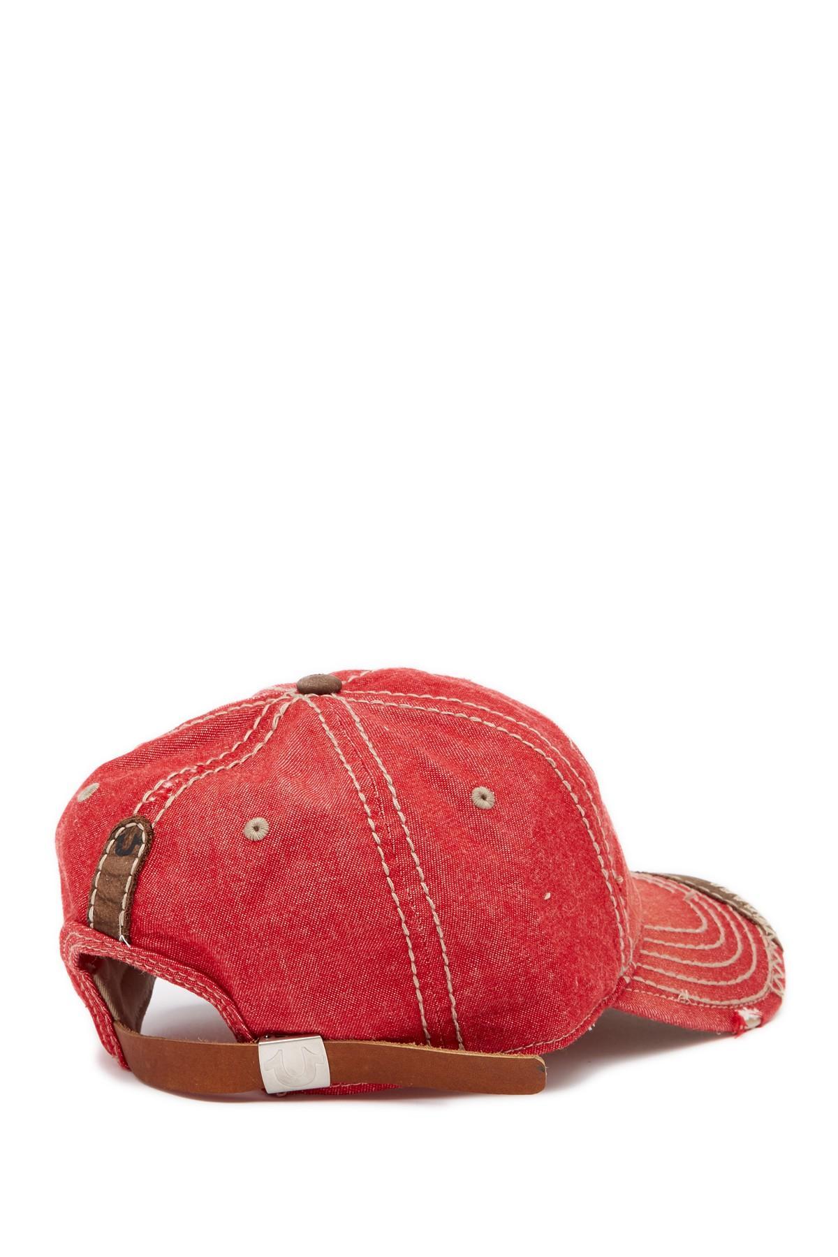 55b51a4a Lyst - True Religion Raised Logo Denim Baseball Cap in Red for Men