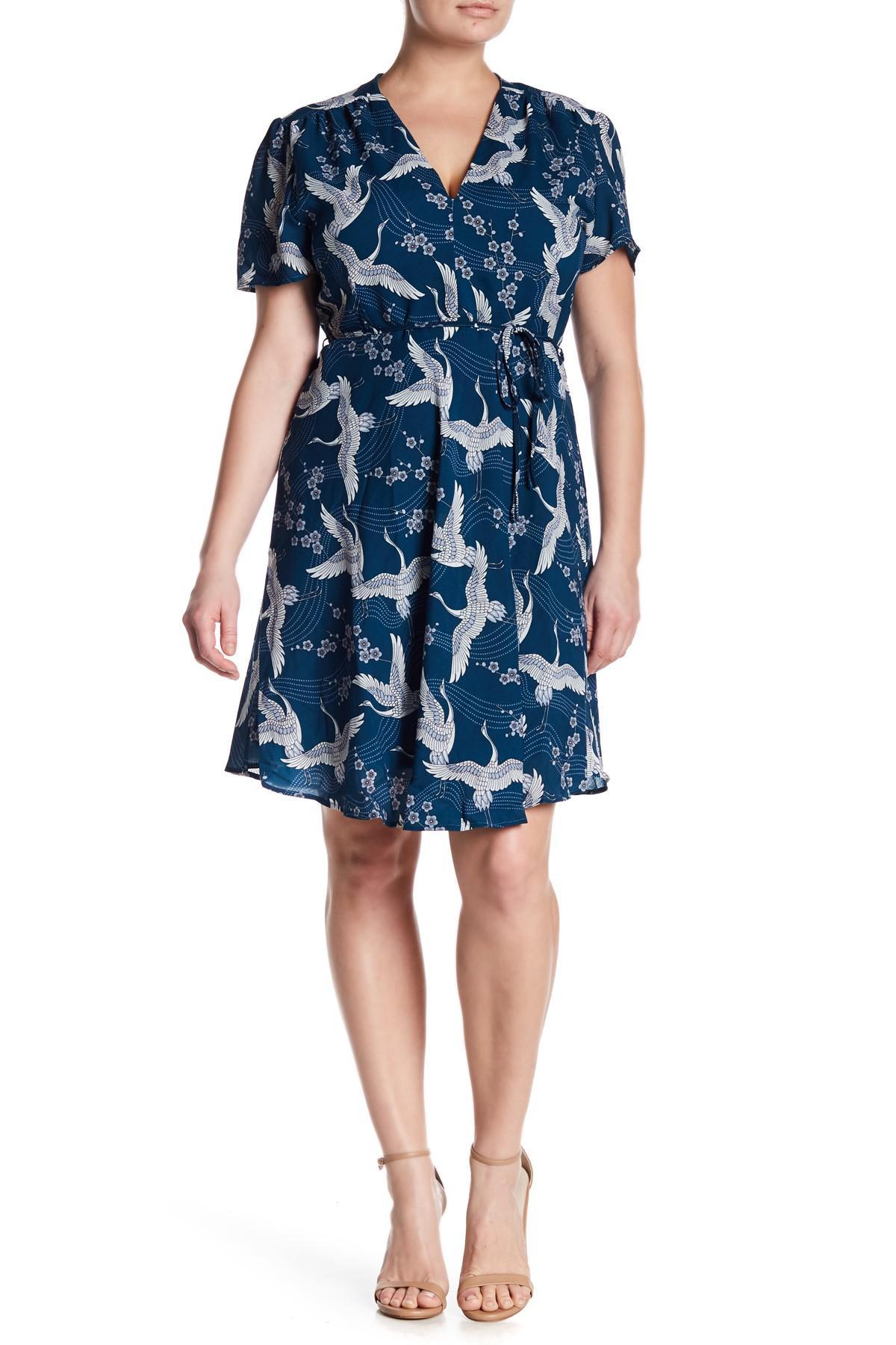 Glamorous Bird Print V-neck Dress (plus Size) in Blue - Lyst - photo#46