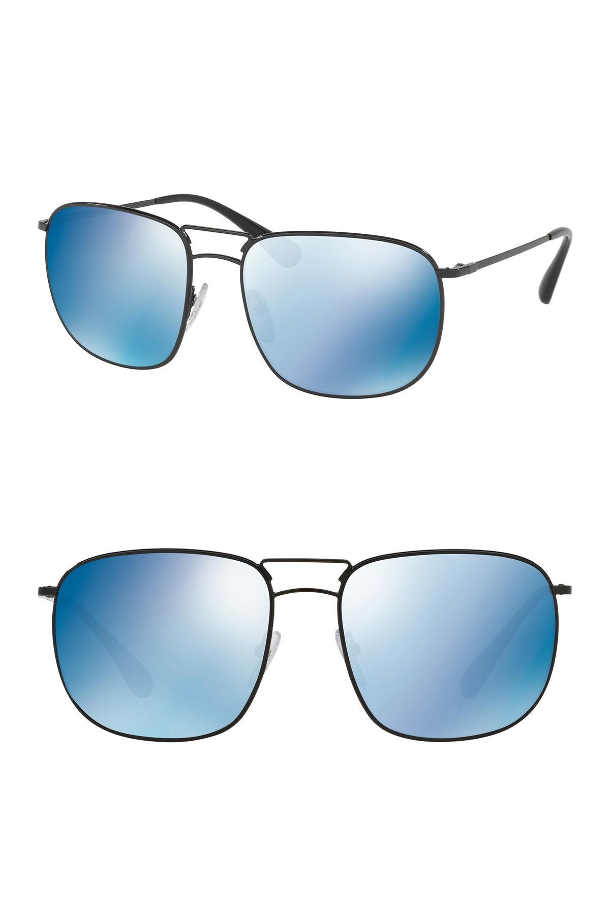 b445f78d9589 Lyst - Prada Pillow Conceptual 60mm Navigator Sunglasses in Black ...