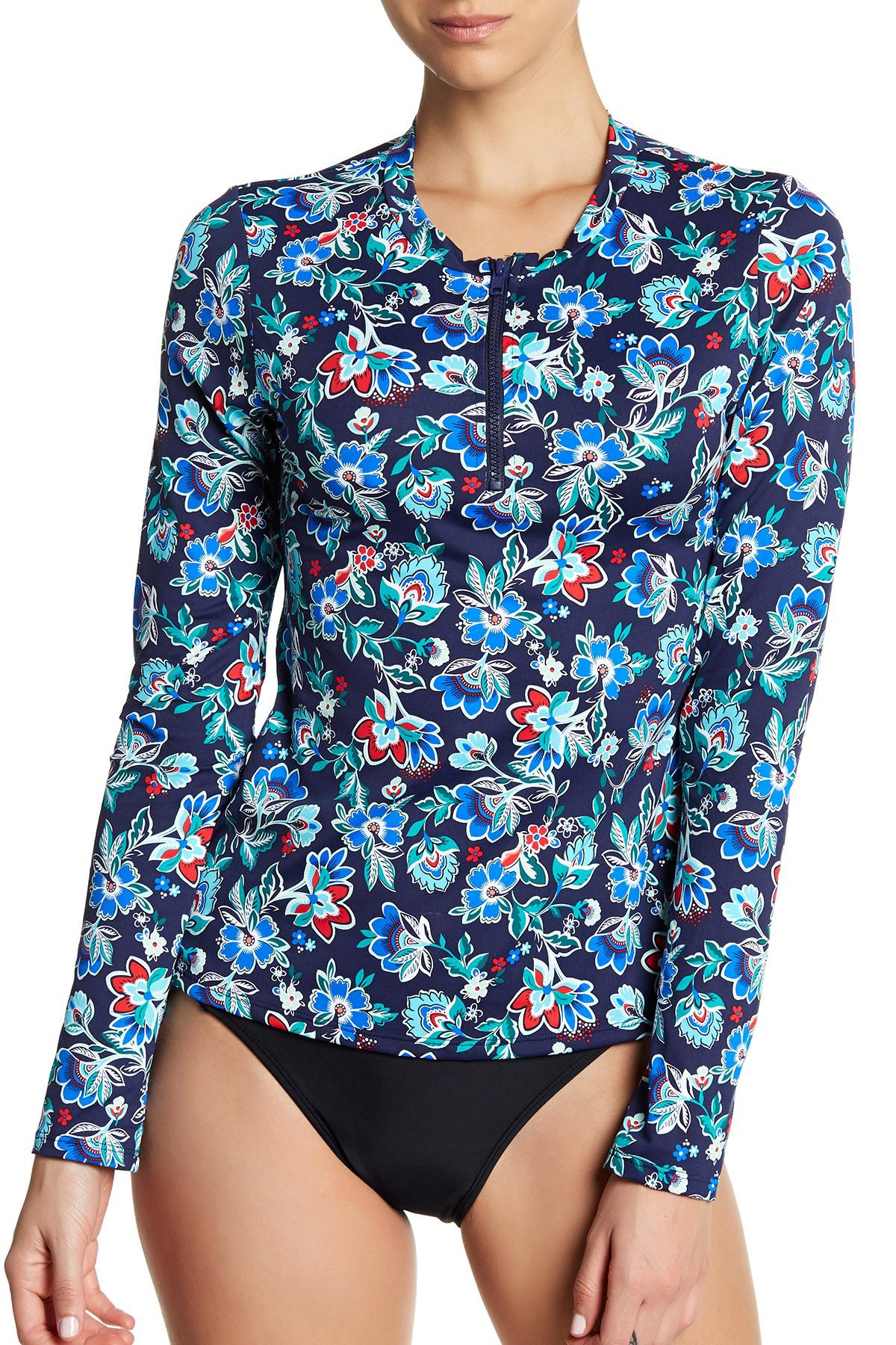 Lyst tommy bahama long sleeve front half zip rash guard for Tommy bahama long sleeve dress shirts