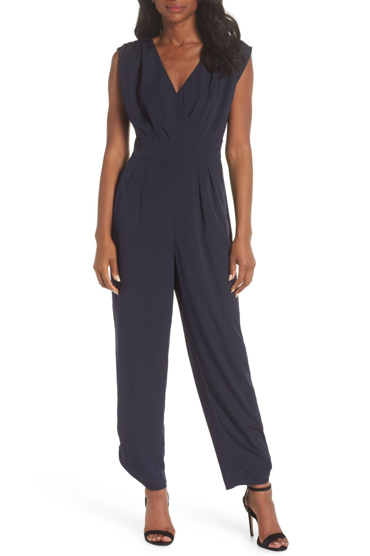 58724099e22d Chelsea28. Women s Blue Ruched Ankle Jumpsuit (regular ...