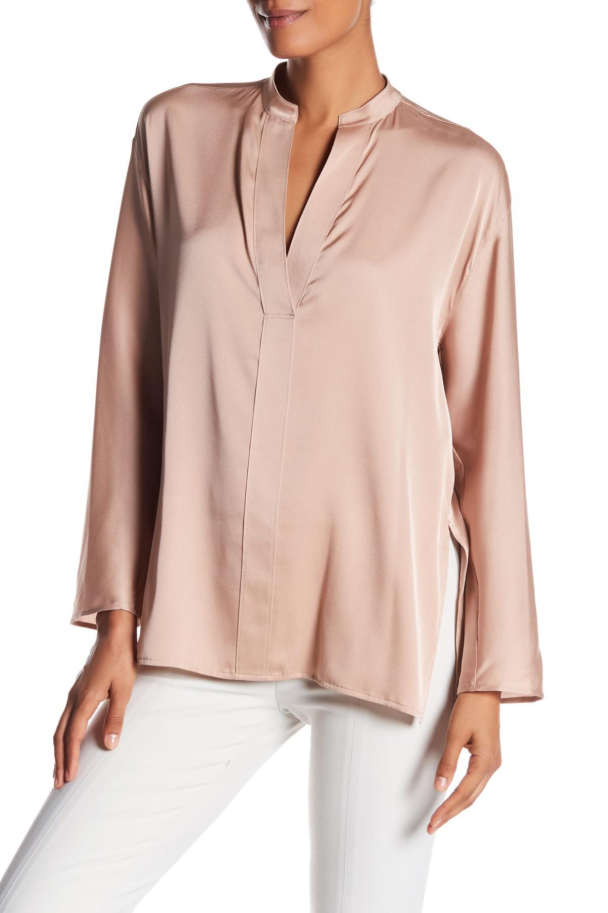 e2acbe5b2 Vince Split V-neck Silk Blend Blouse in Pink - Lyst