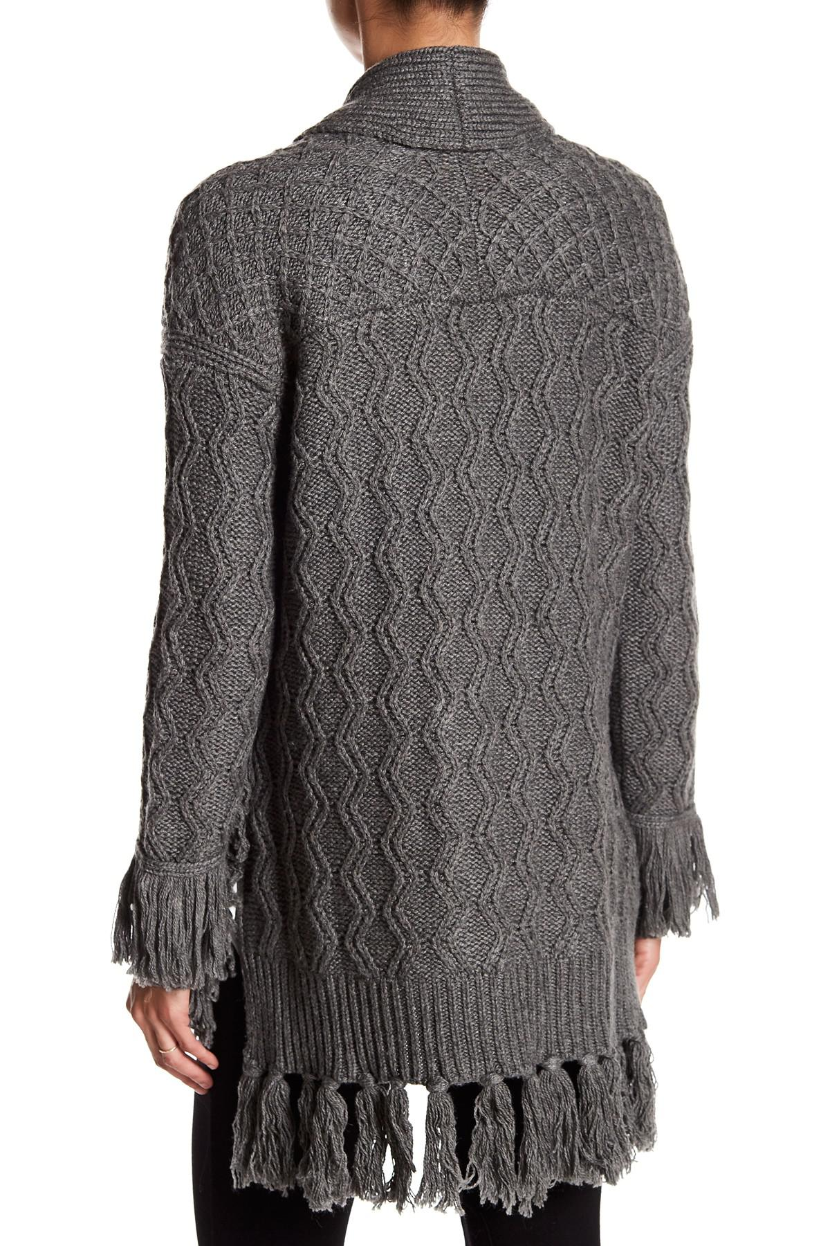 Ella moss Long Sleeve Cable Knit Cardigan in Gray | Lyst