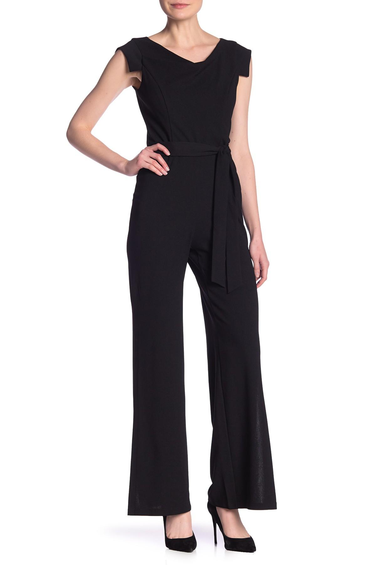 1bb085b658f2 Lyst - Bebe Cowl Neck Solid Jumpsuit in Black