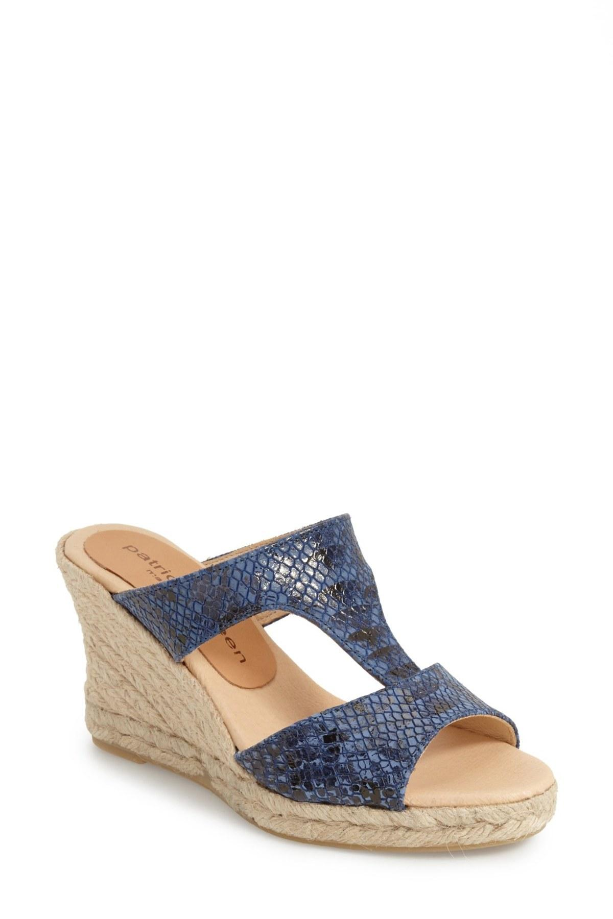 Lyst Patricia Green Snake Embossed Wedge Sandal In Blue