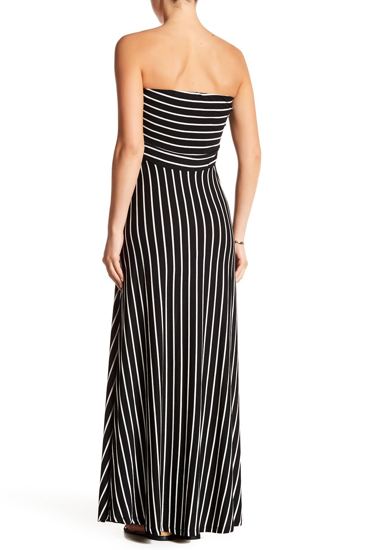 1d232e219b4 West Kei - Black Strapless Stripe Maxi Dress - Lyst. View fullscreen