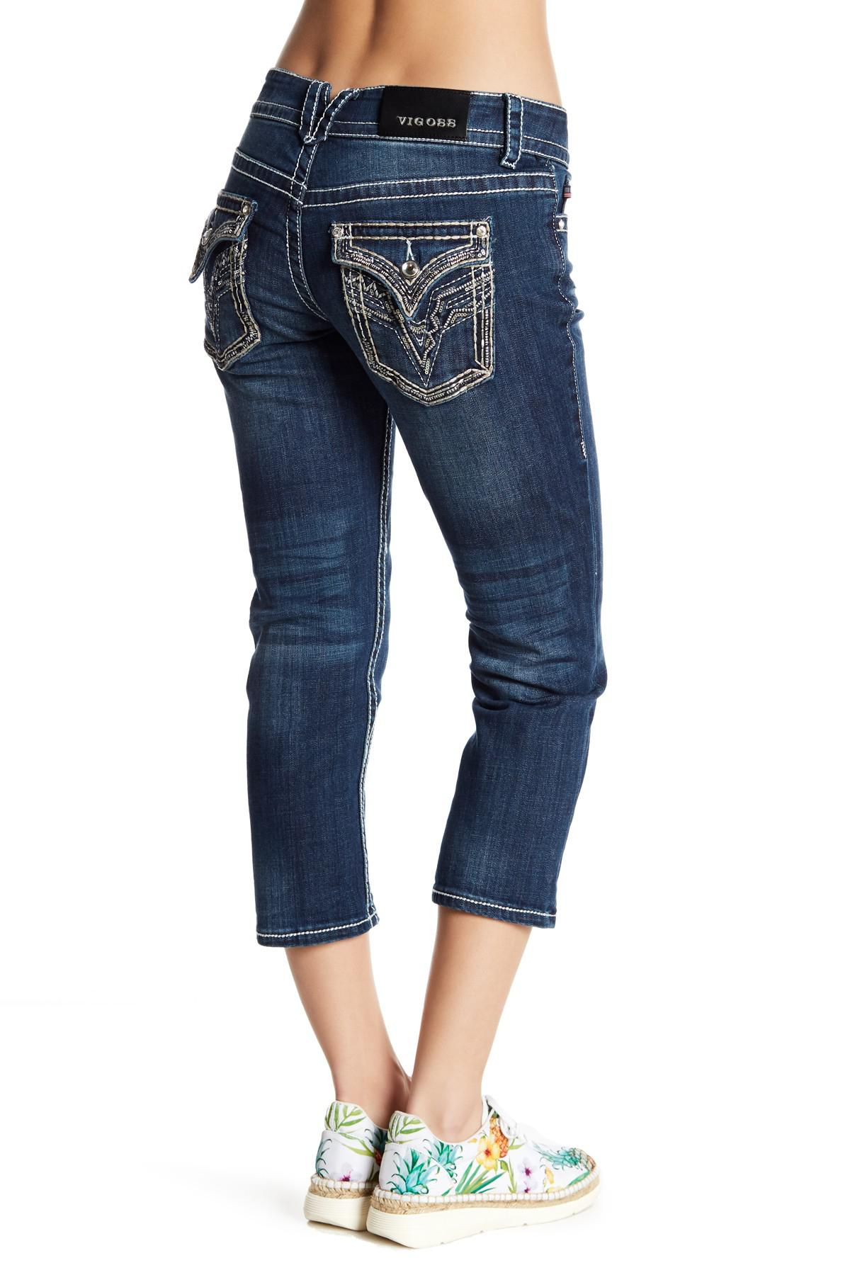348a570779a Vigoss Embellished Topstitched Capri Jeans in Blue - Lyst