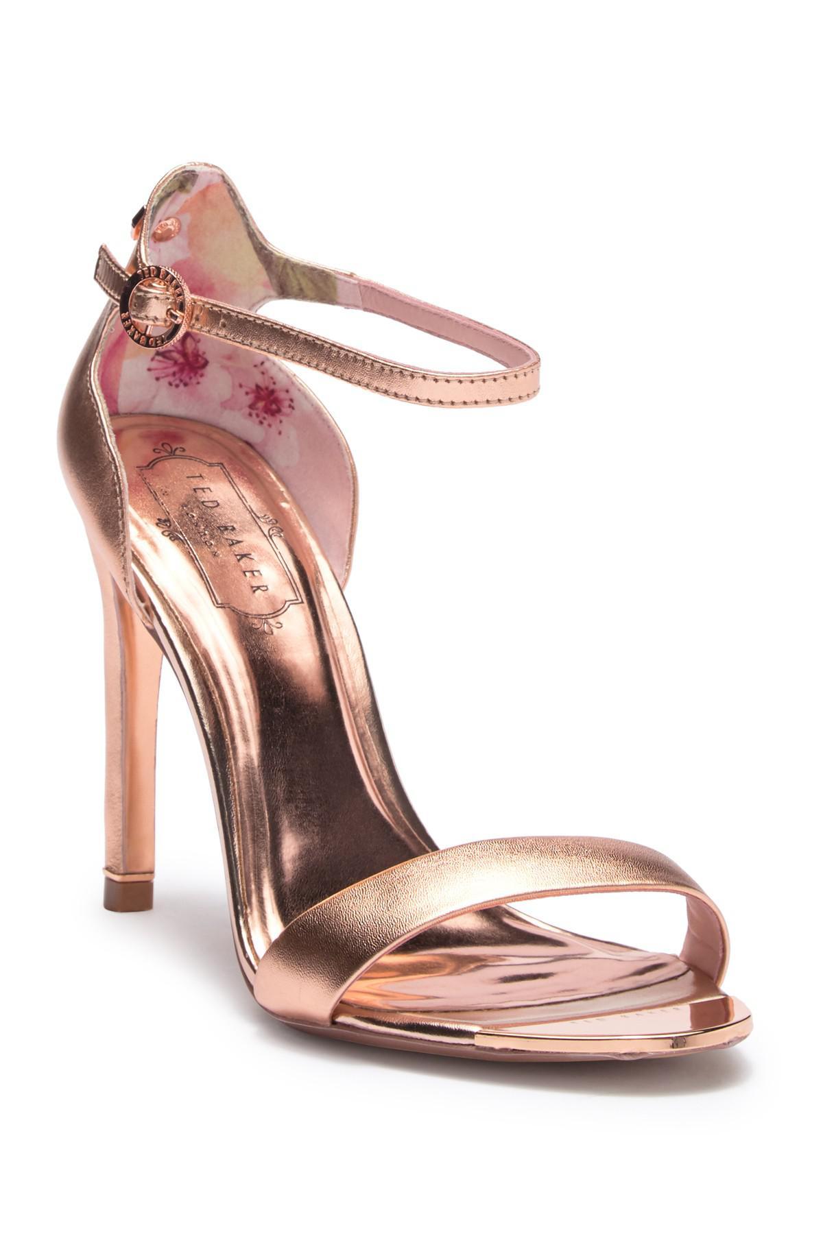 ee4fecd57d87 Lyst - Ted Baker Sharlot Leather Heel Sandal in Pink