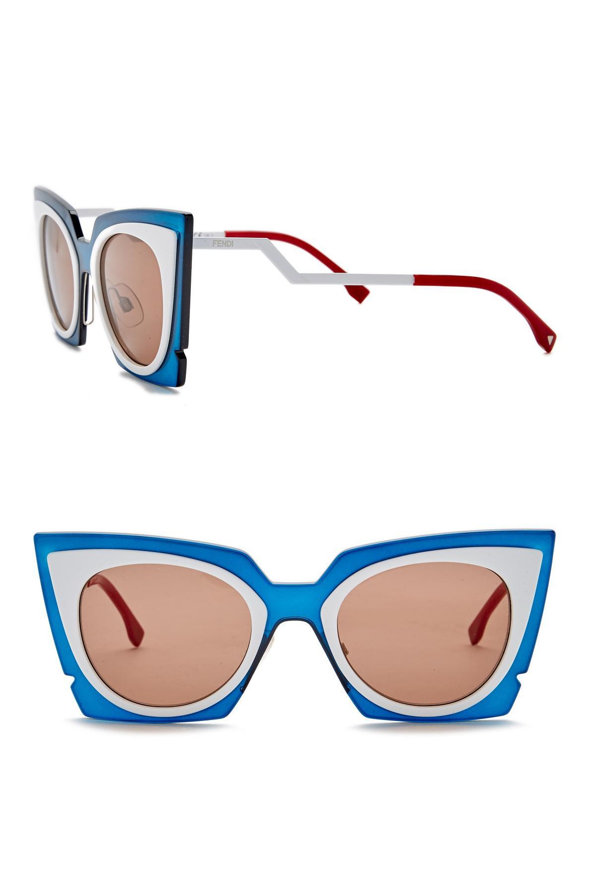 5f402a3738f89 Lyst - Fendi 49mm Modified Butterfly Sunglasses in Blue for Men