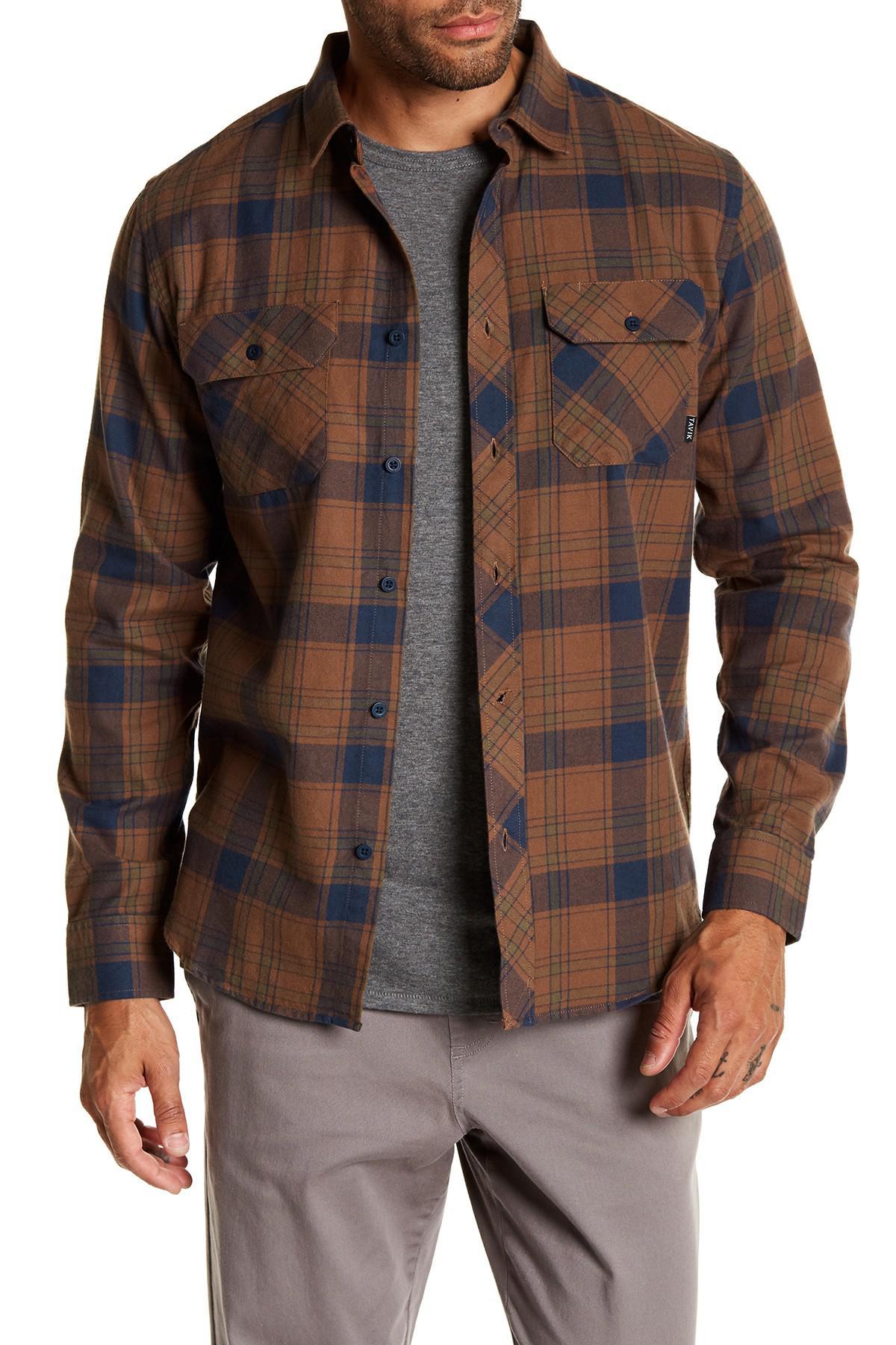 lyst tavik vincent long sleeve plaid trim fit shirt in. Black Bedroom Furniture Sets. Home Design Ideas